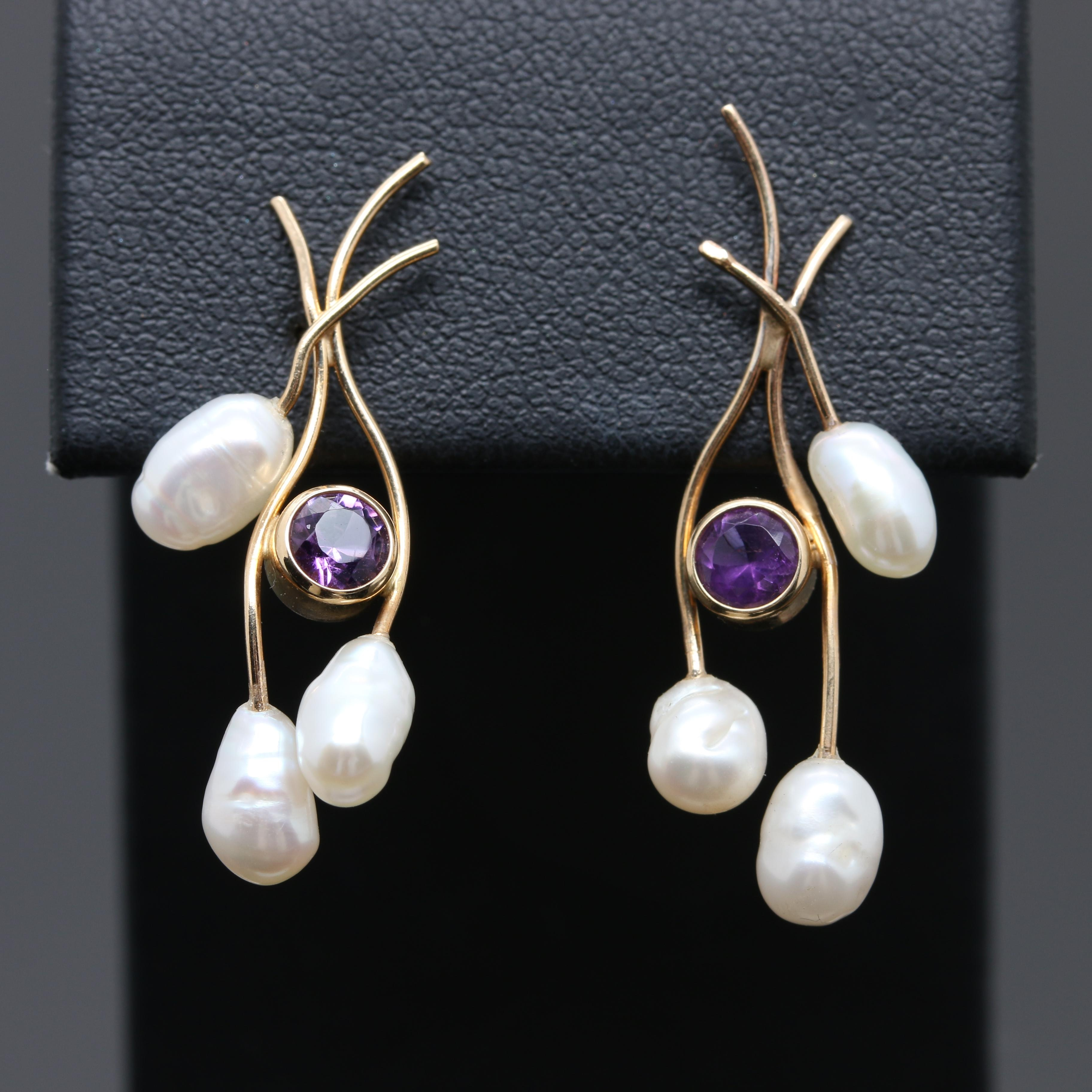 14K Yellow Gold Cultured Freshwater Pearl and Amethyst Earrings