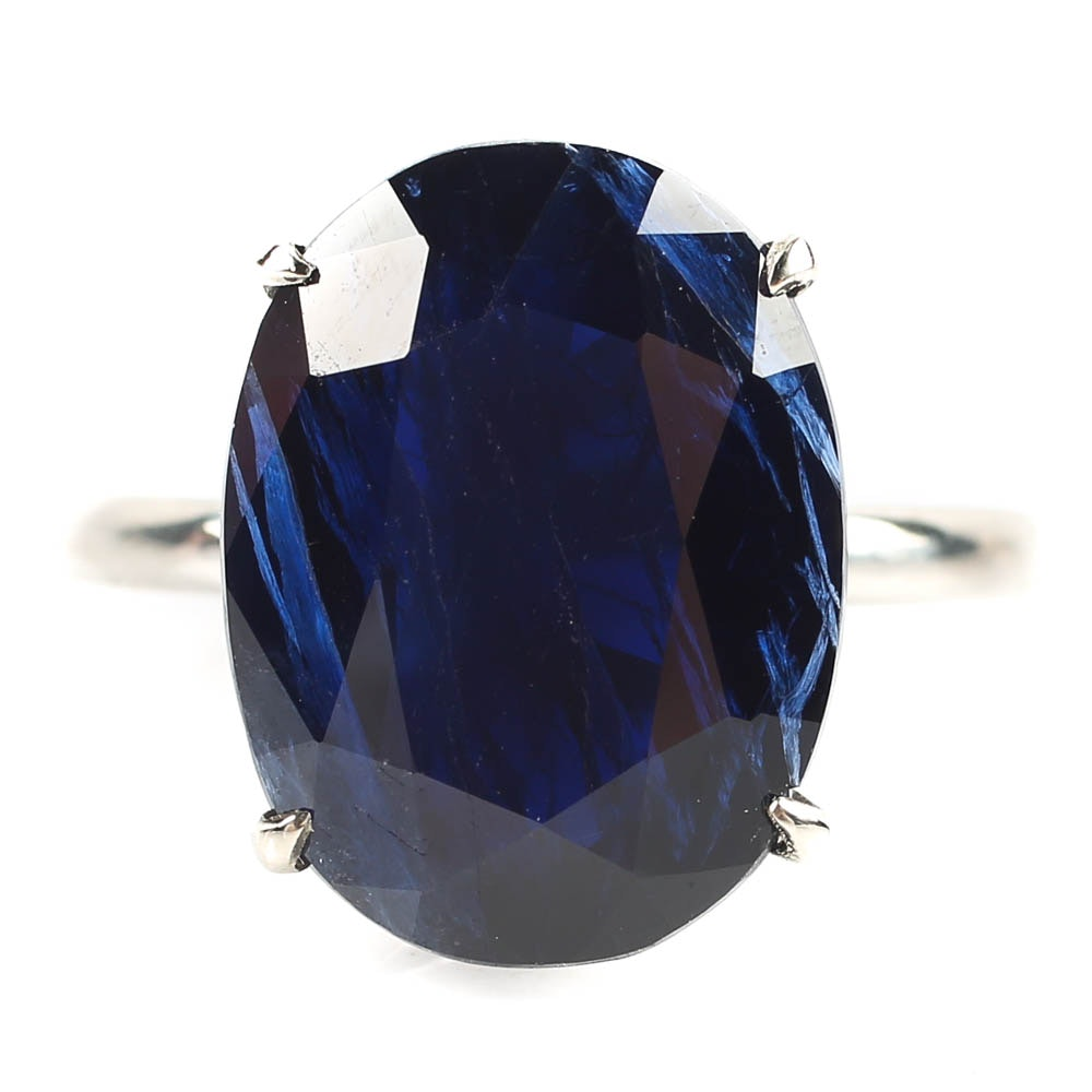 Platinum and 10.94 CT Sapphire Ring with GIA Report