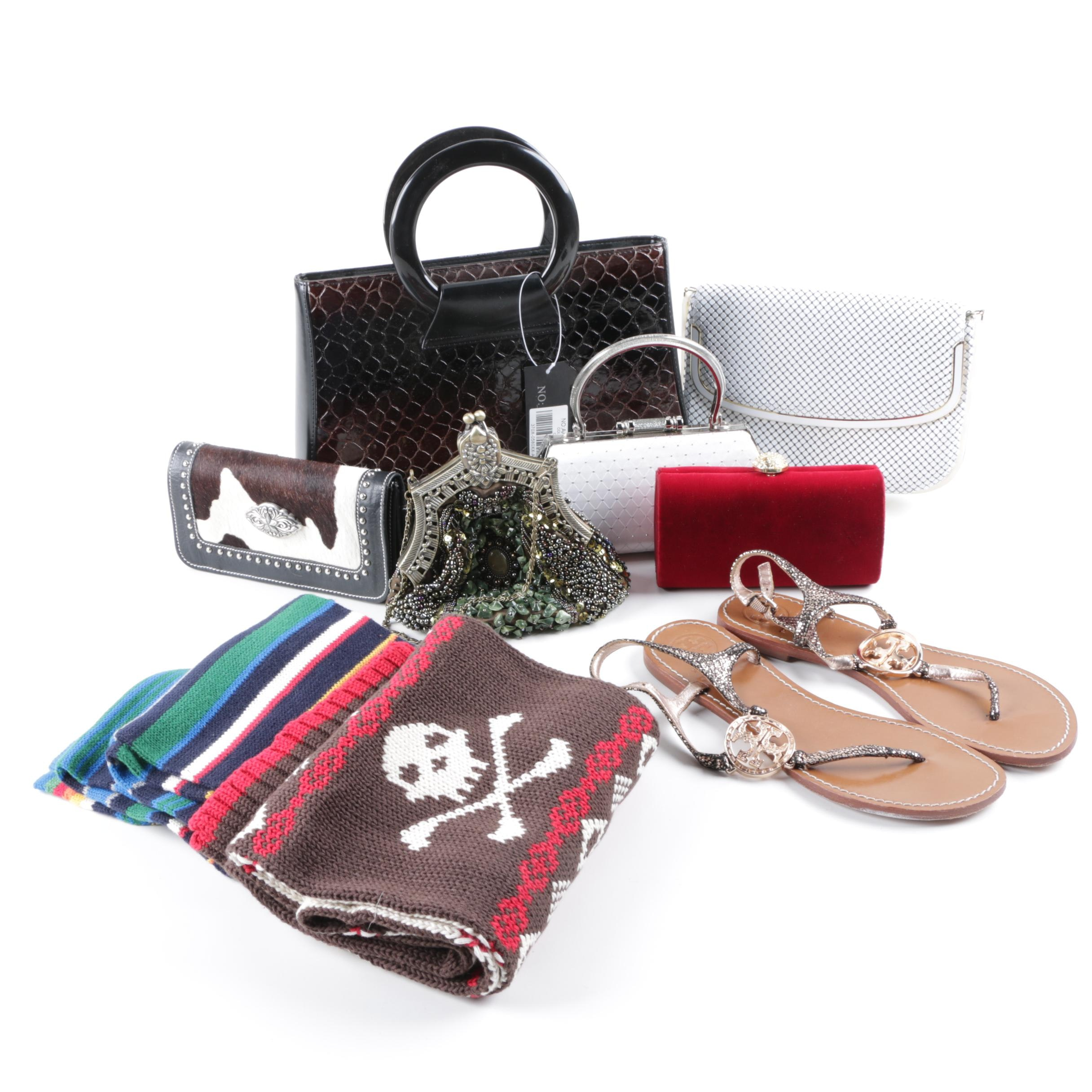 Tory Burch Sandals with Variety of Handbags, Scarves and Wallets