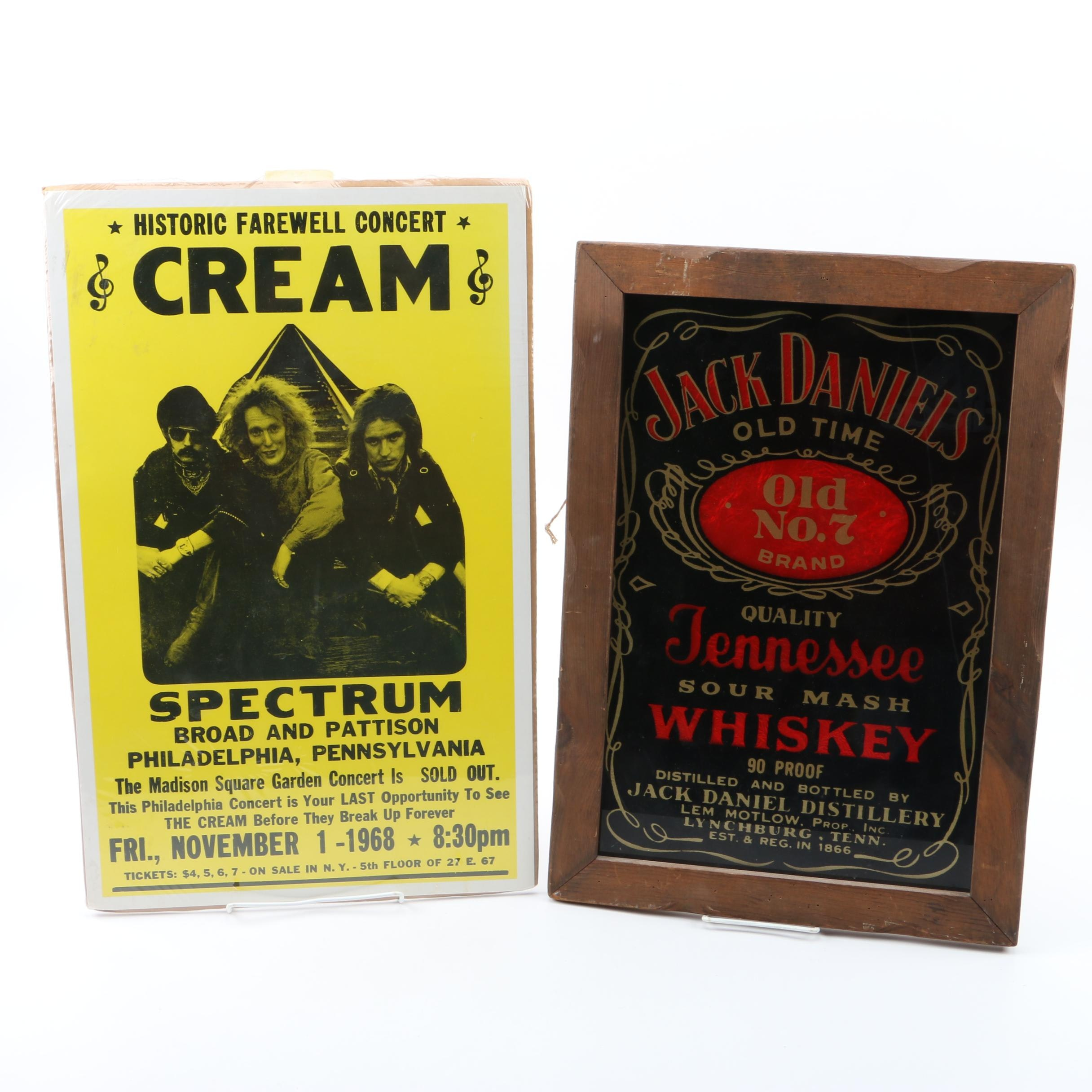 Cream Poster and Jack Daniels Advert Wall Decor