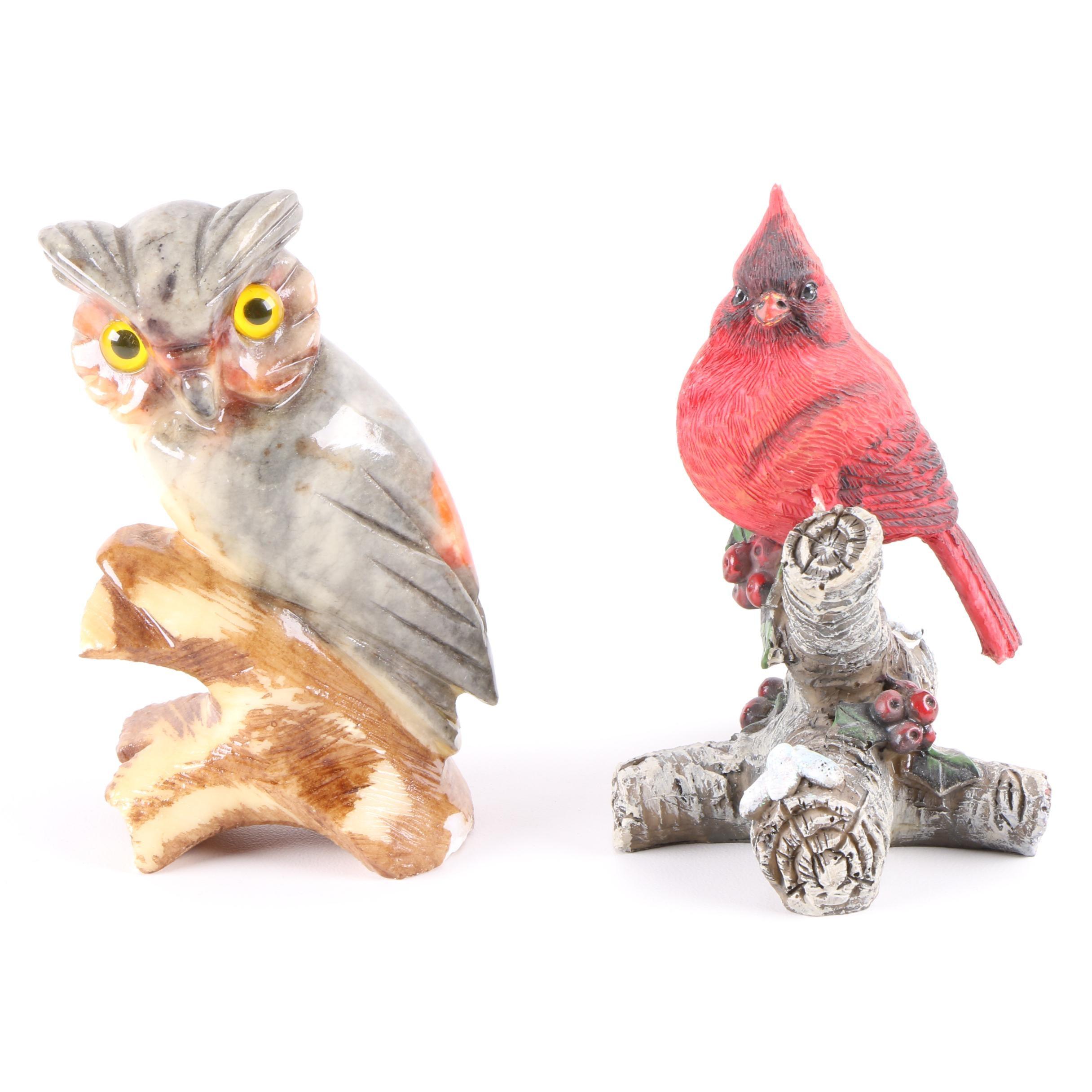 Owl and Cardinal Figurines
