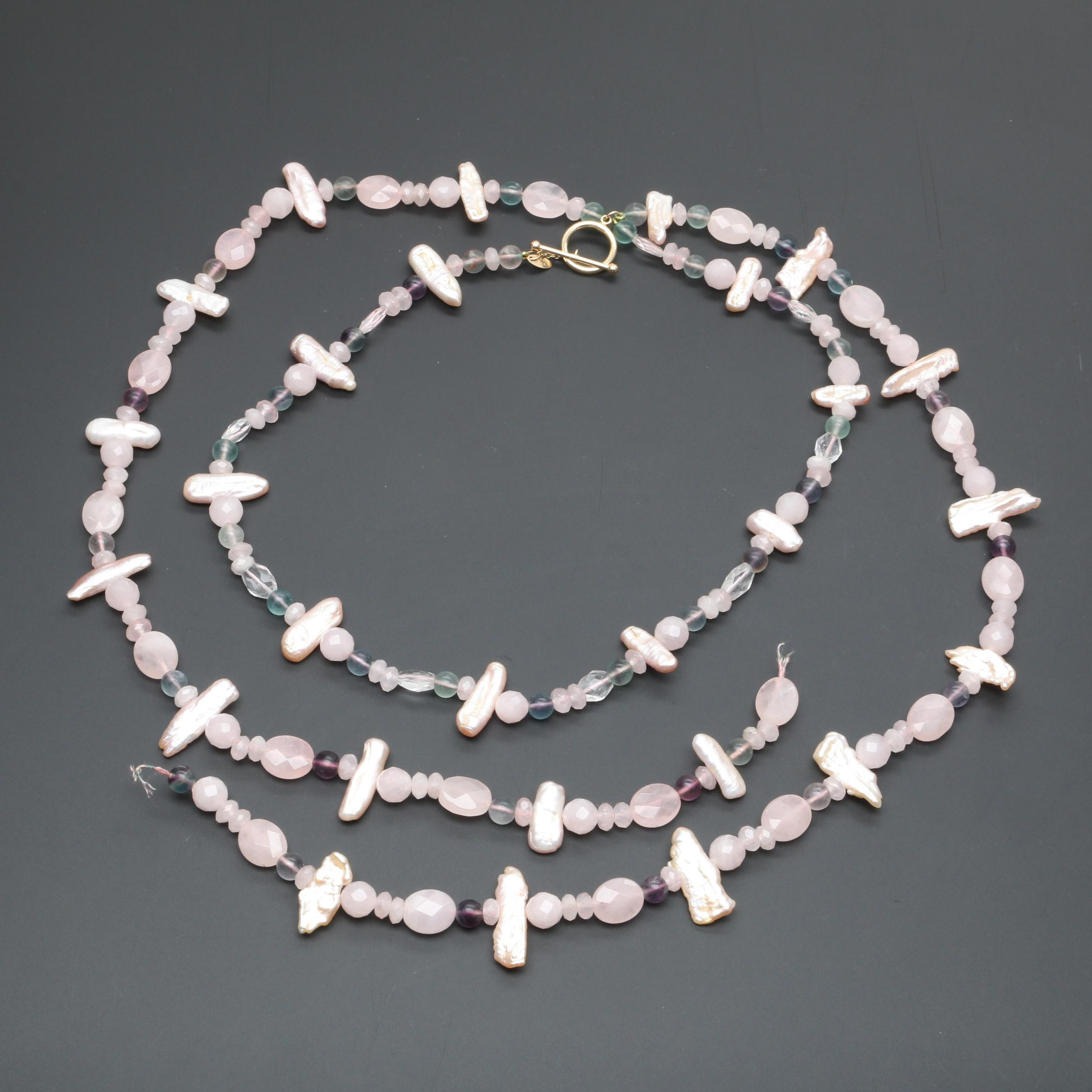 14K Yellow Gold Cultured Biwa Pearl, Rose Quartz and Fluorite Necklace