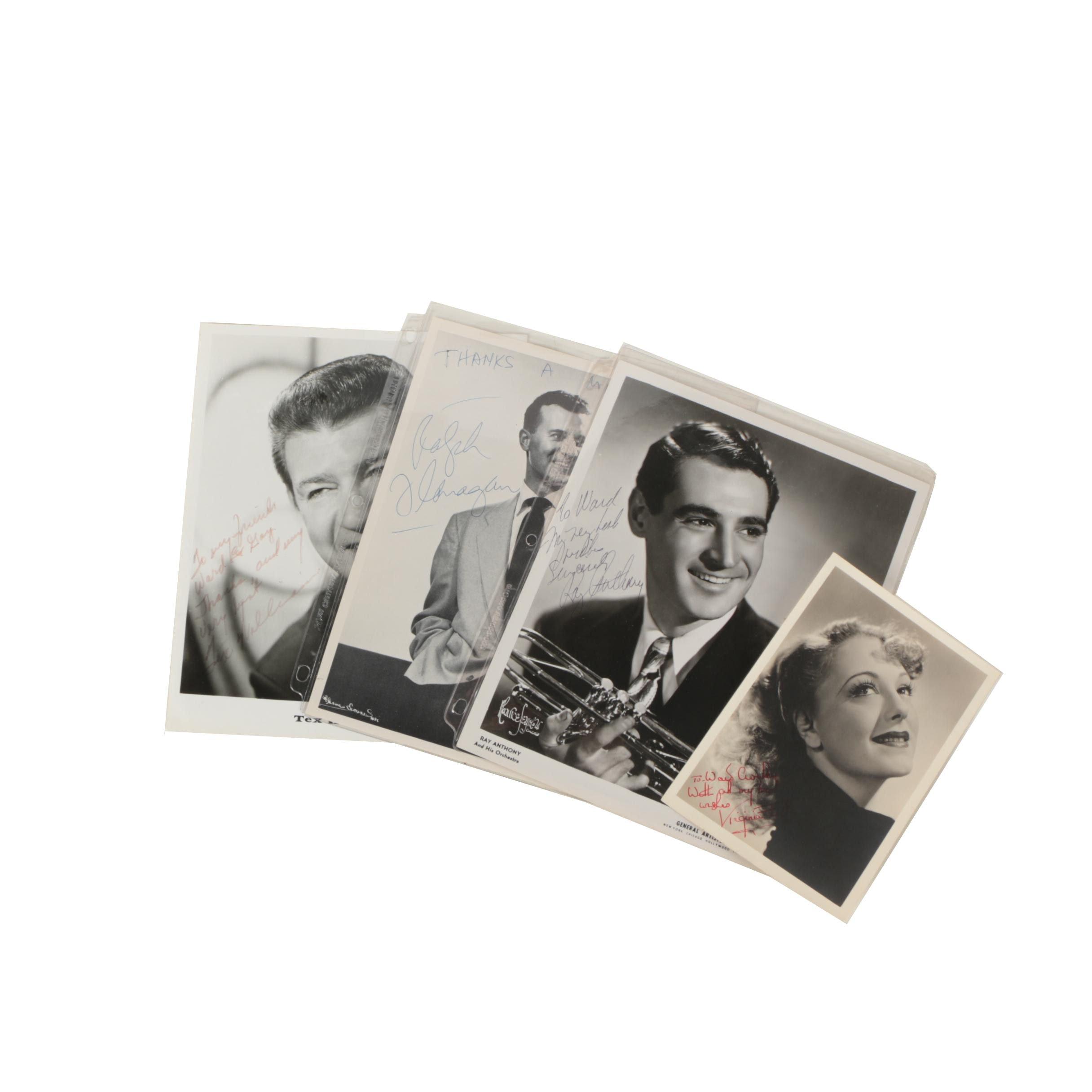 Four Autographed Celebrity Prints