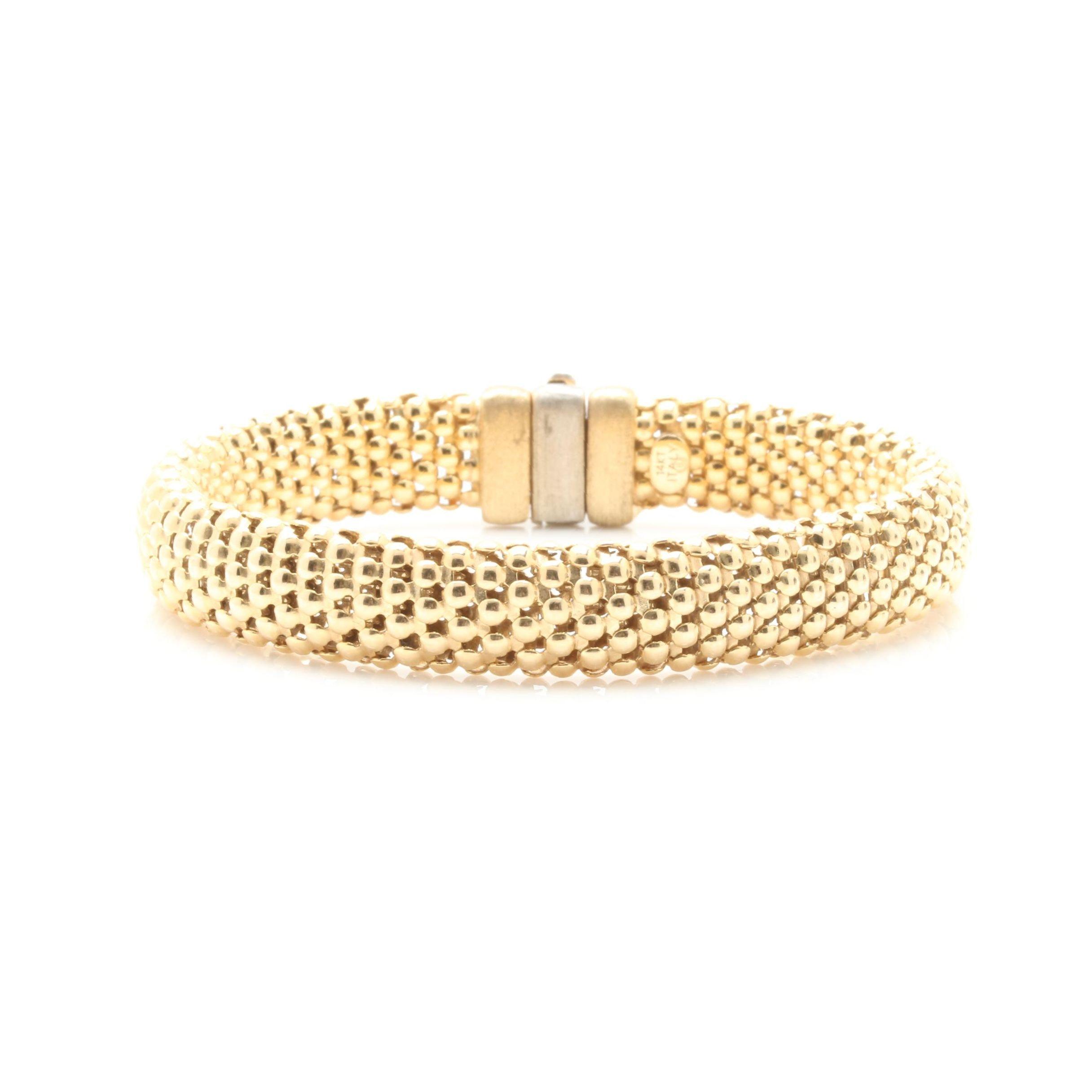 14K Yellow Gold Mesh Bracelet
