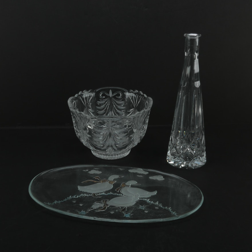 Block Crystal Vase And Assorted Home Decor Ebth