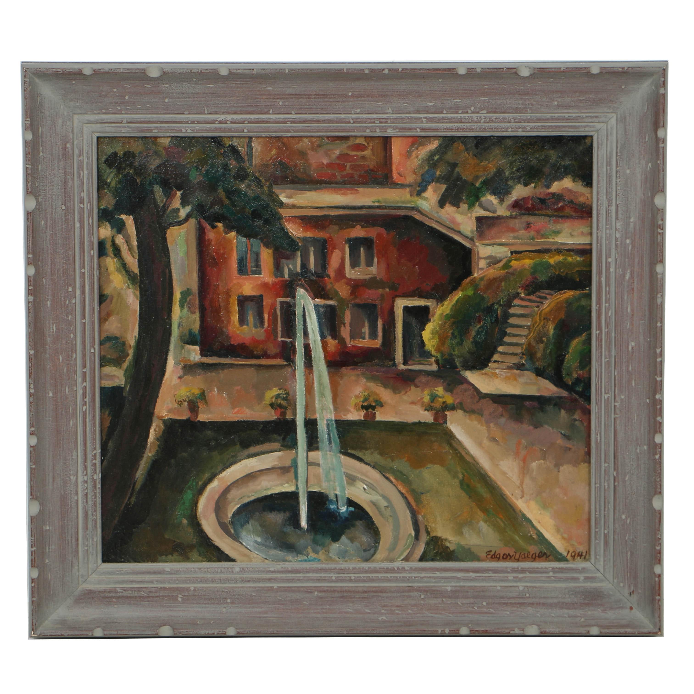 Edgar Yaeger 1941 Oil Painting on Canvas of Courtyard Scene