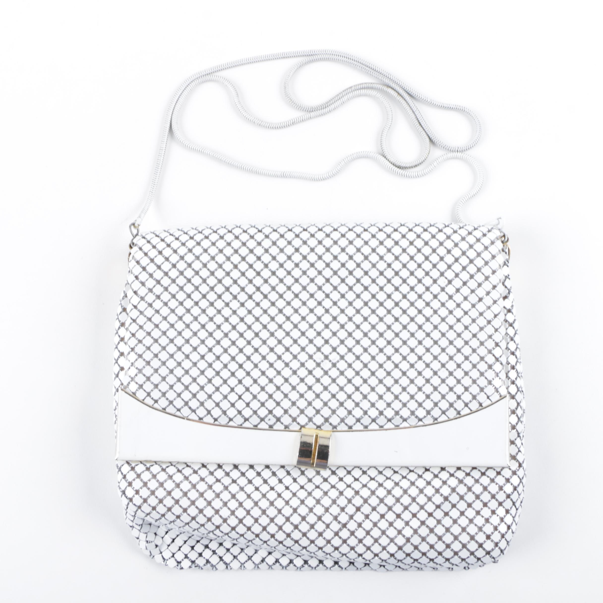 Vintage White Enameled Metal Mesh Evening Bag