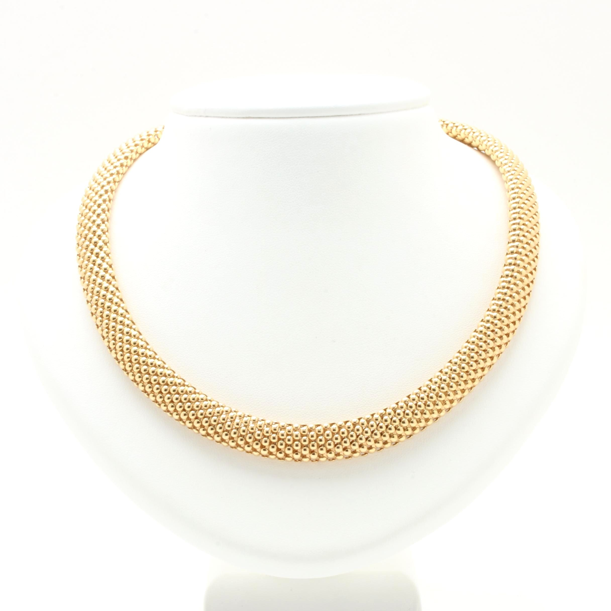 14K Yellow Gold Popcorn Chain Necklace