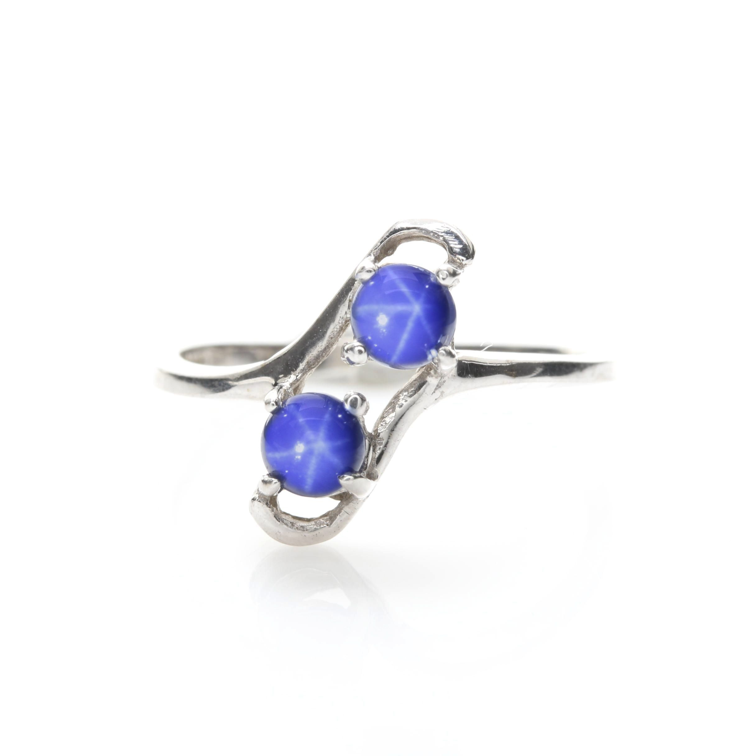 10K White Gold Synthetic Star Sapphire Bypass Ring