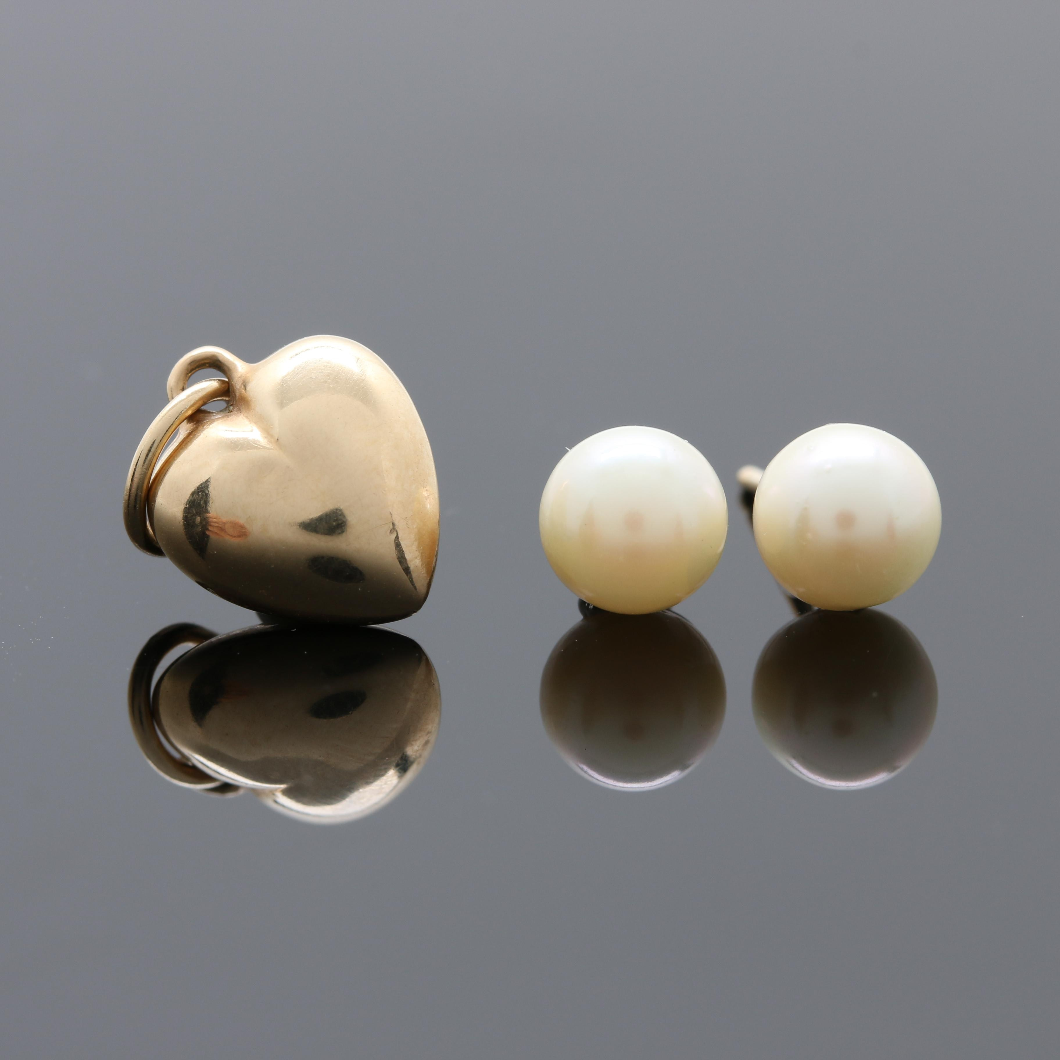 14K Yellow Gold Heart Pendant and Stud Style Earrings with Cultured Pearls
