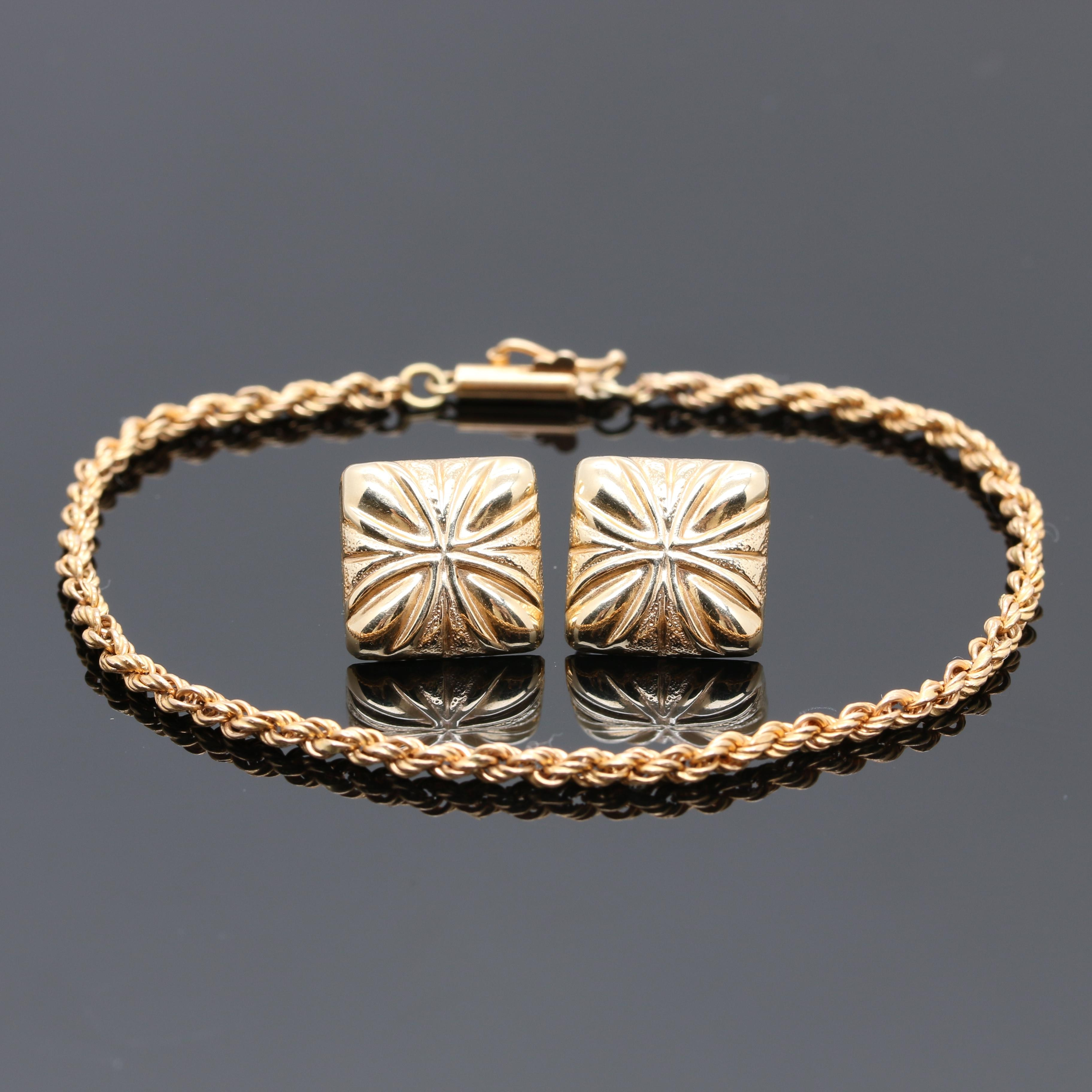 14K Yellow Gold Rope Bracelet and Earrings