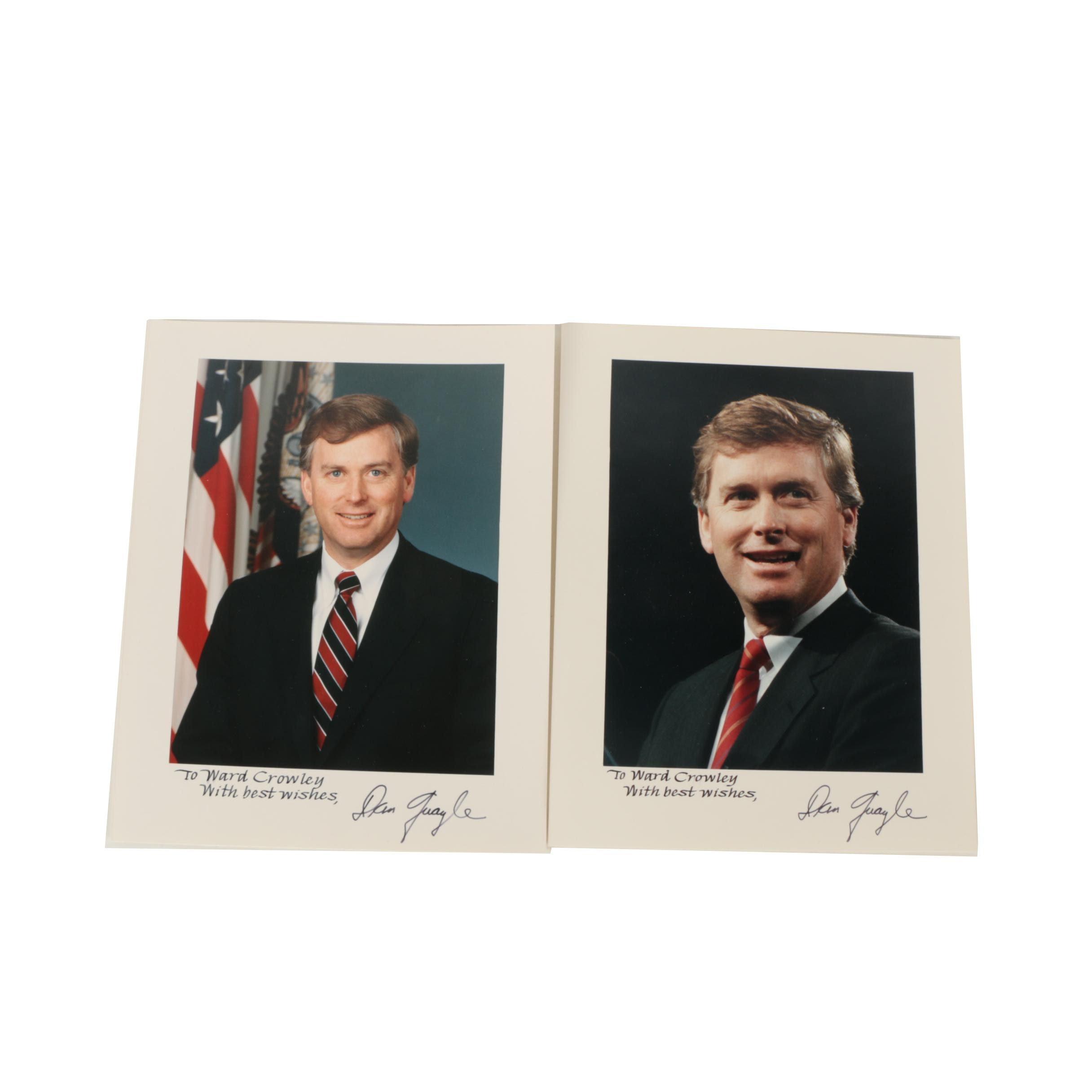 Autographed Color Photographs of Dan Quayle