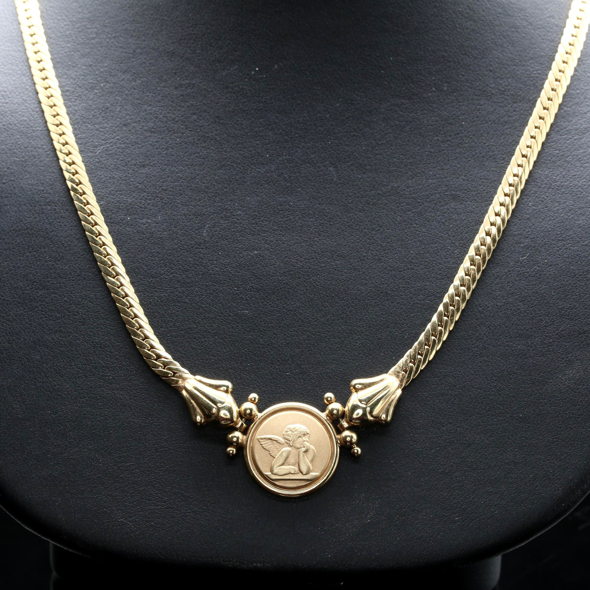 14K Yellow Gold Cherub Necklace