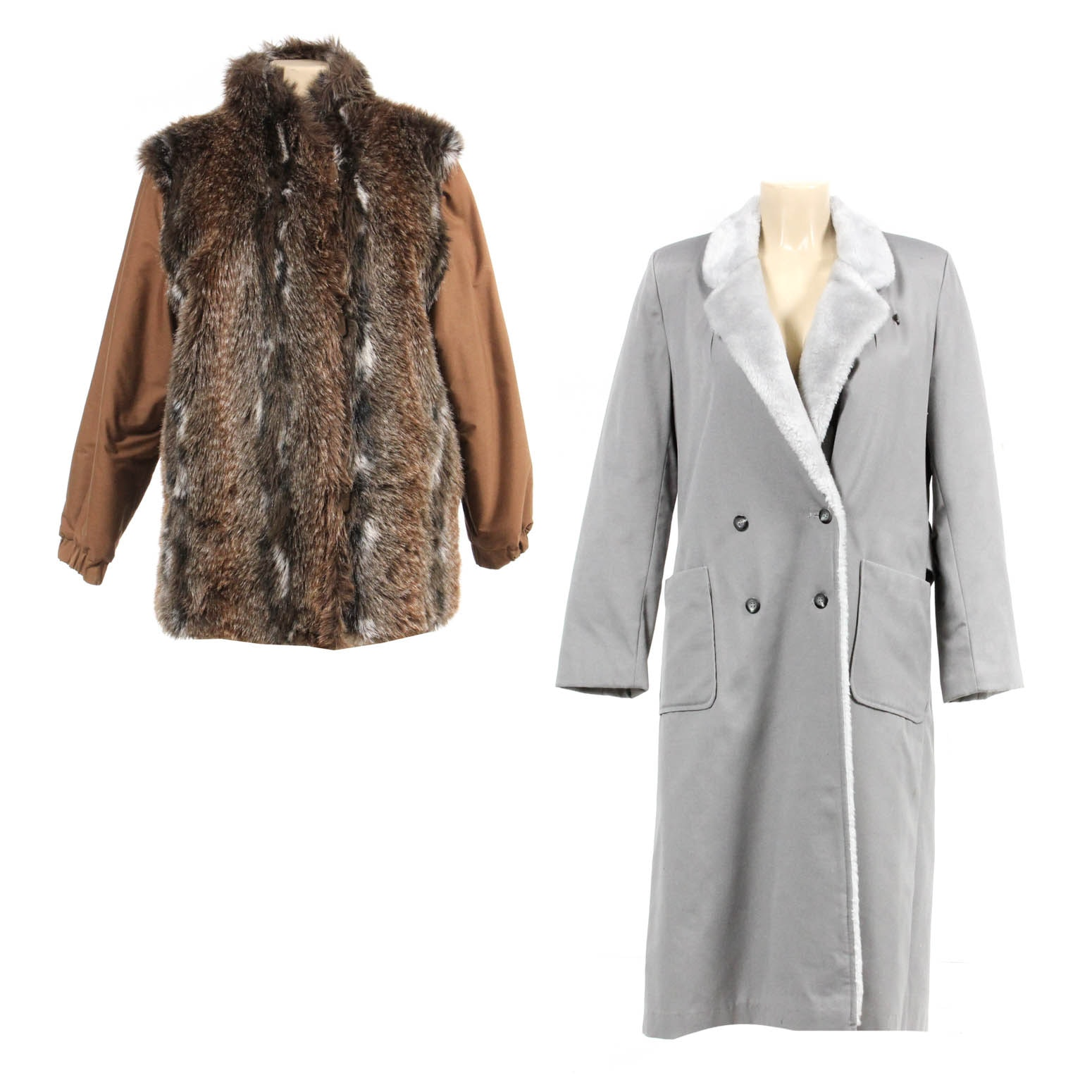 Pair of Faux Fur and Faux Shearling Coats