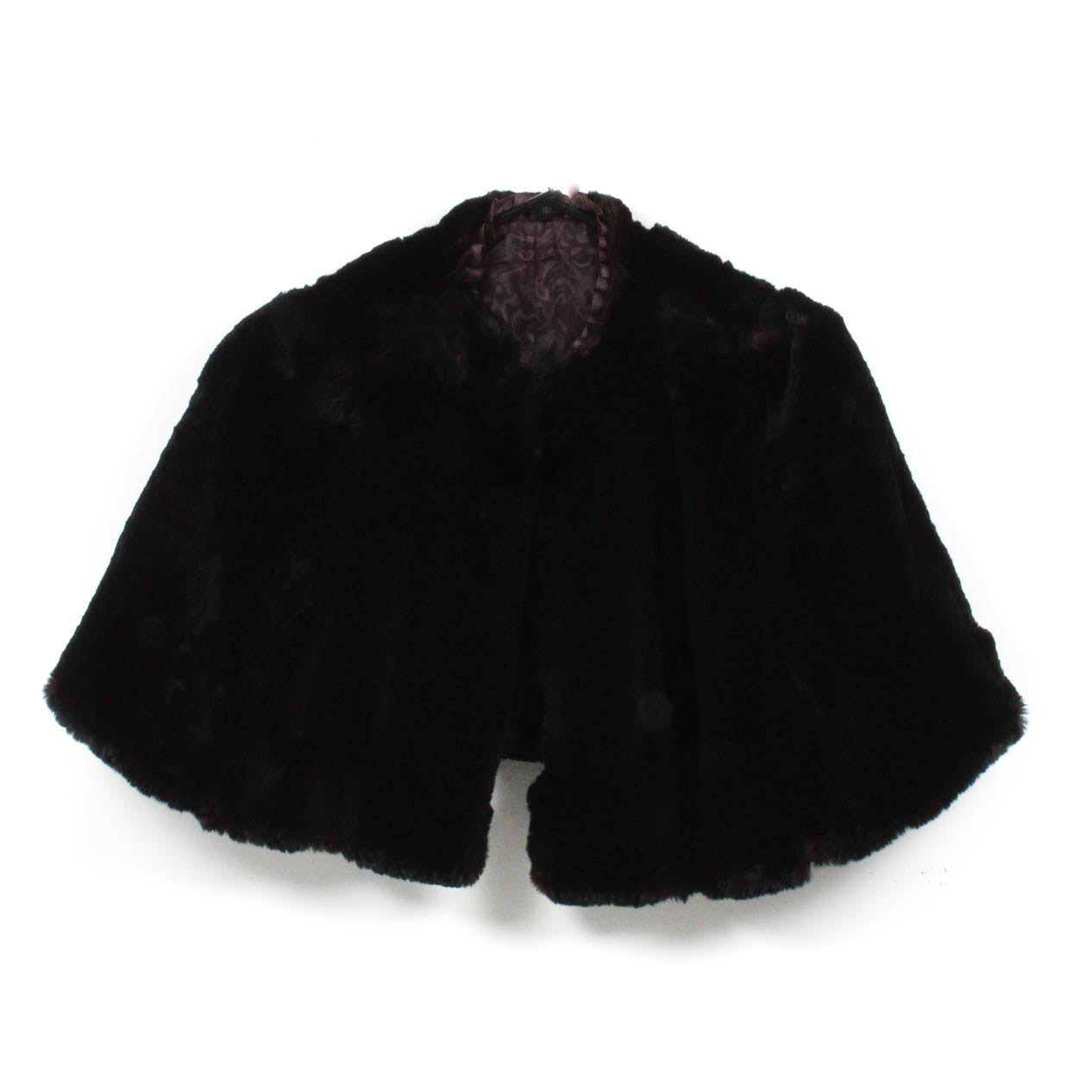 Vintage Dyed Black Sheared Beaver Capelet