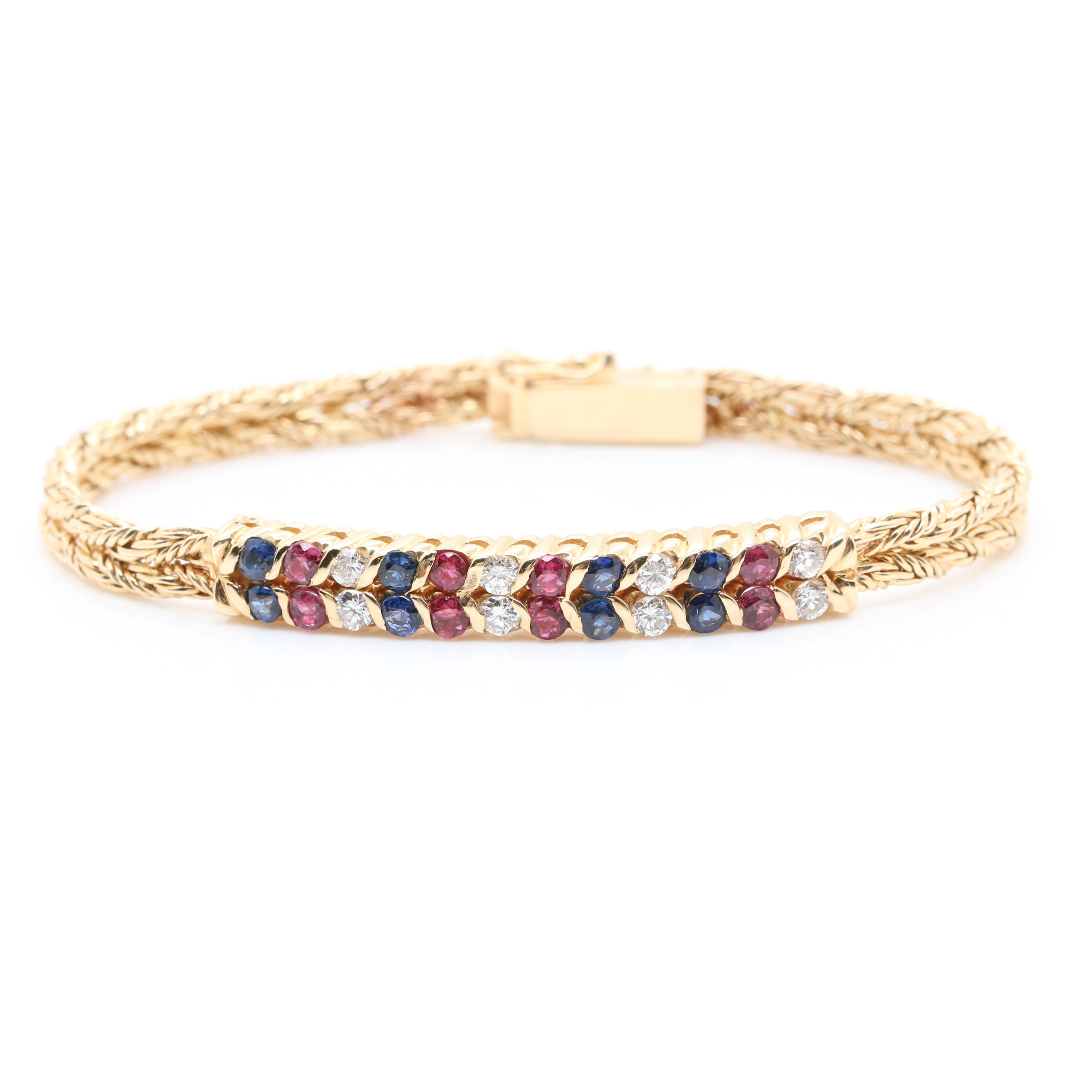 14K Yellow Gold Diamond, Ruby, and Sapphire Bracelet