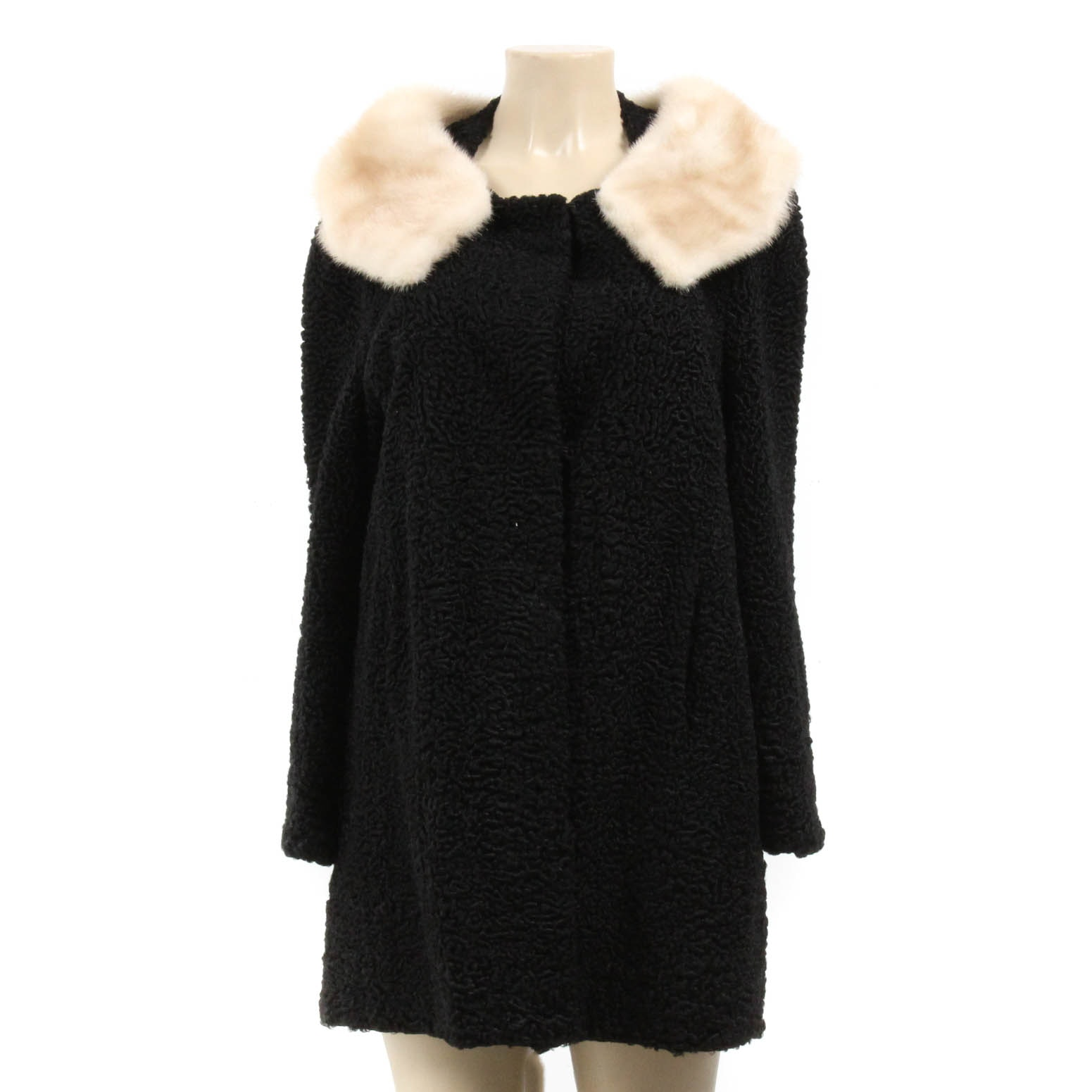 Vintage Hopper Furs Black Persian Lamb Coat With Platinum Mink Collar