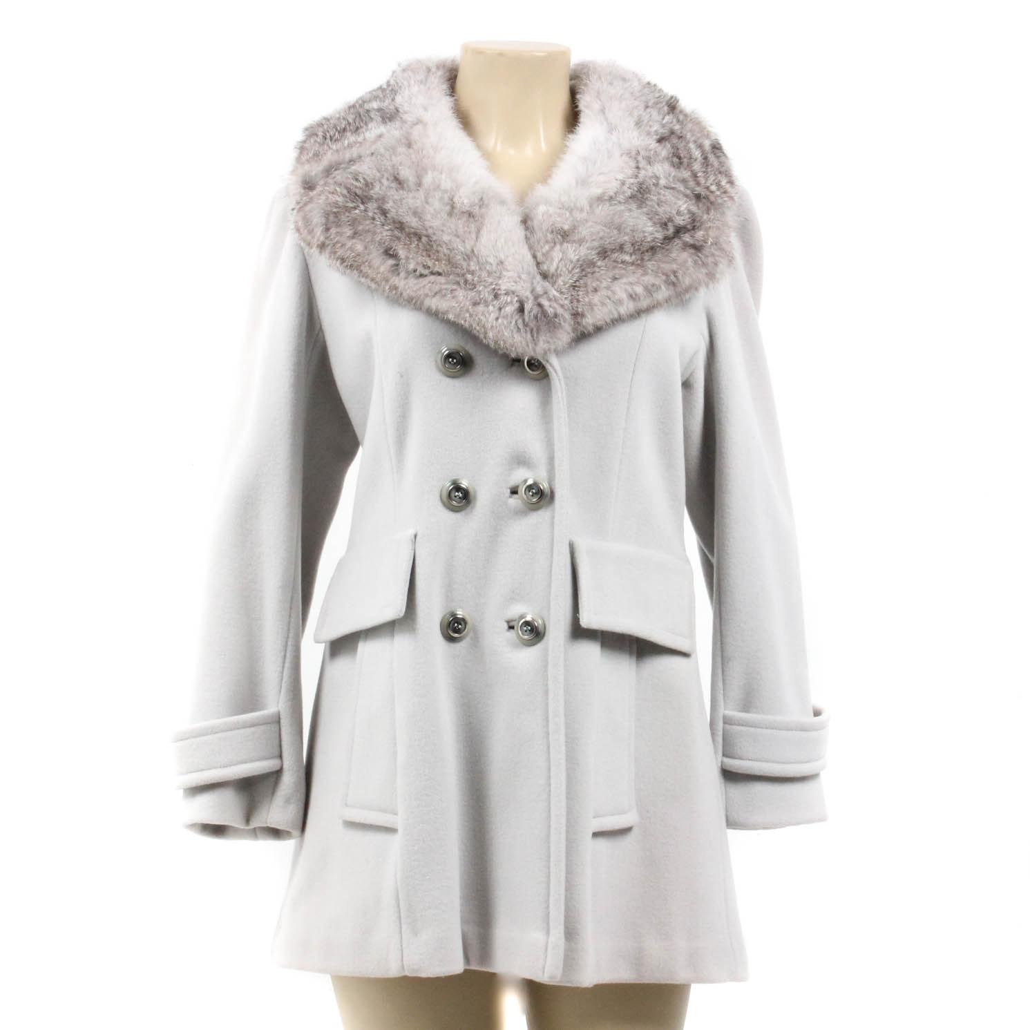 Vintage Sears Gray Wool Coat With Rabbit Fur Collar