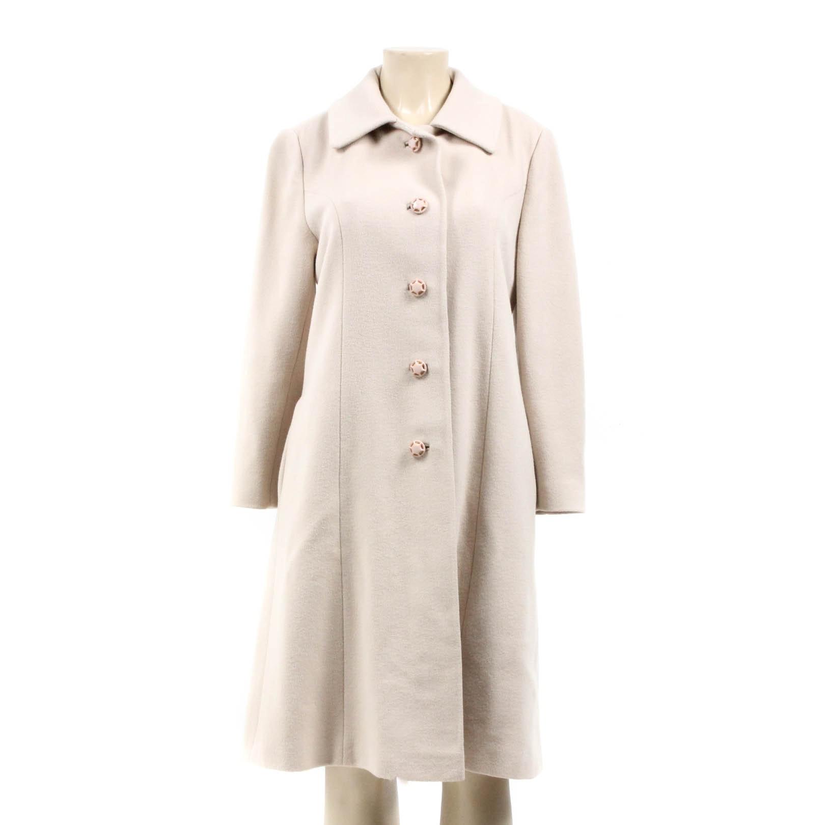 Vintage Beige Cashmere Button-Front Coat