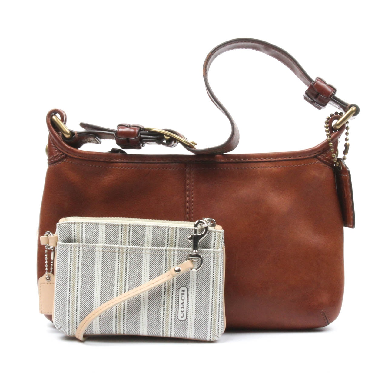 Coach Bleeker Hobo Bag and Striped Wristlet