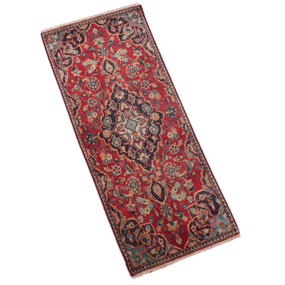 Vintage Hand-Knotted Persian Kashan Accent Rug