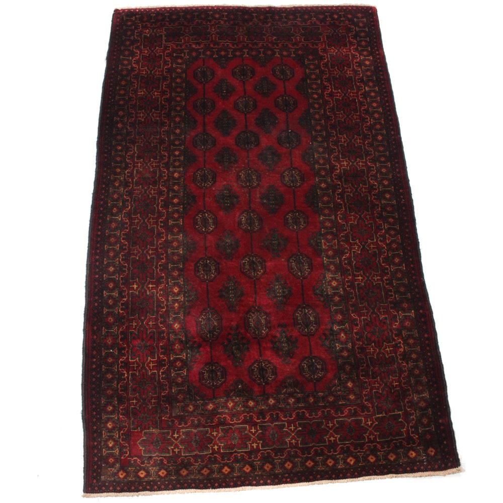 Vintage Hand-Knotted Persian Turkman Rug