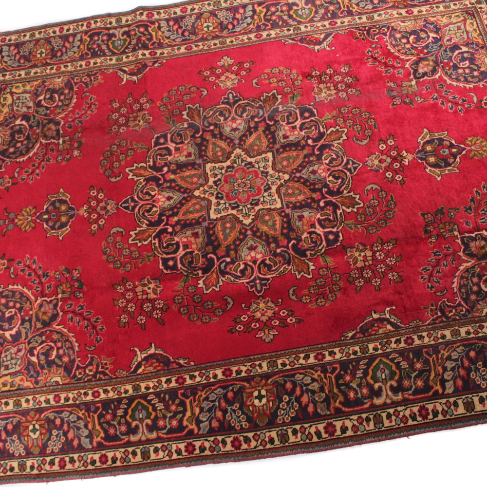 Vintage Hand-Knotted Persian Tabatabe Tabriz Rug