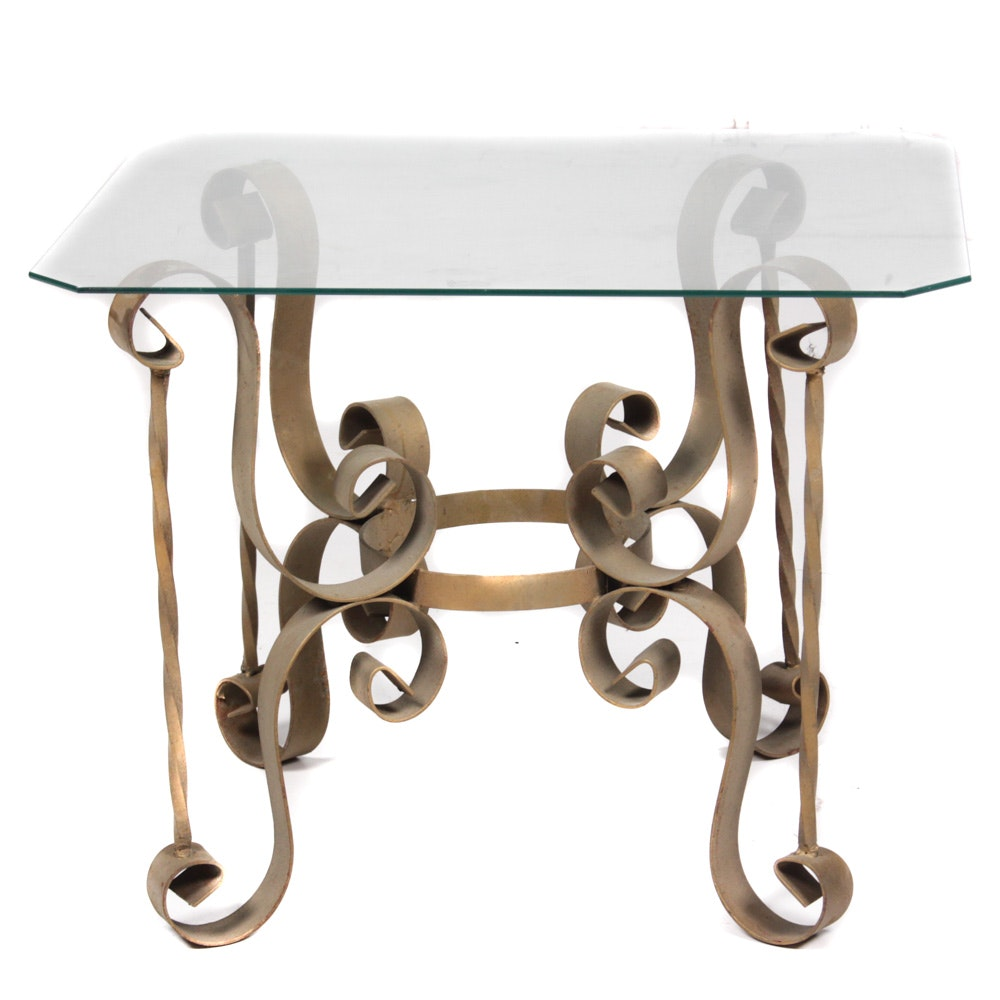Gold Tone Metal Base Coffee Table