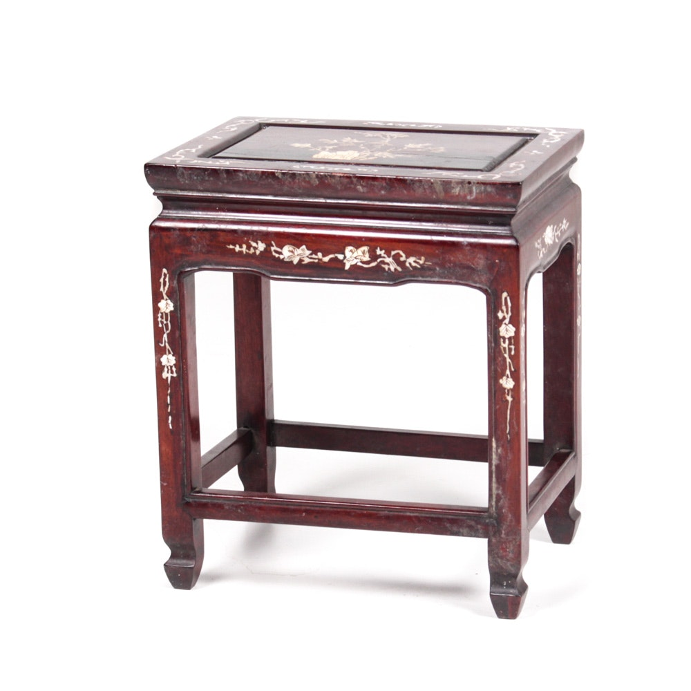 Chinese Red Gum Table with Mother of Pearl Inlay