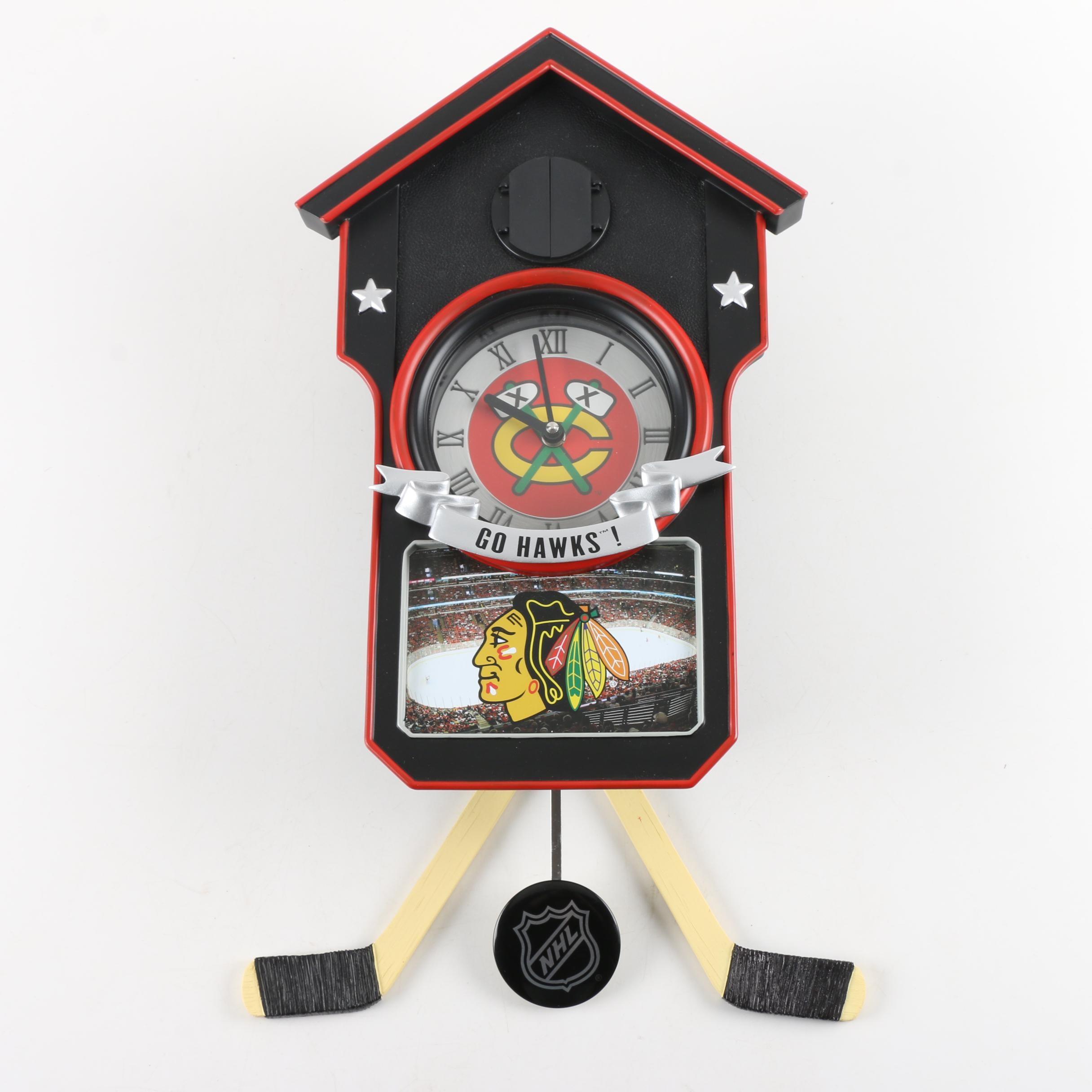 Limited Edition Chicago Blackhawks NHL Cuckoo Clock