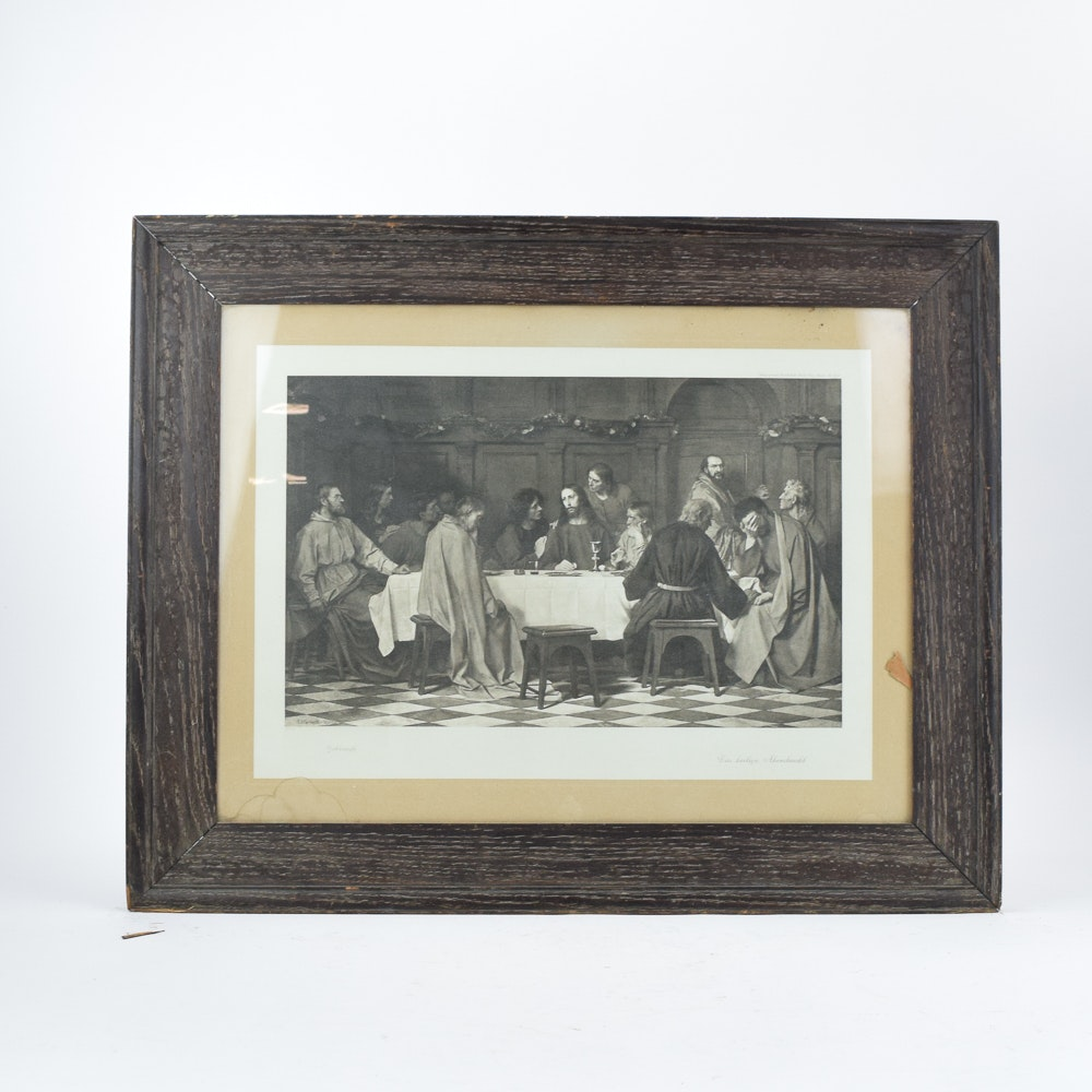 "Reproduction Print After Eduard von Gebhardt ""The Last Supper"""