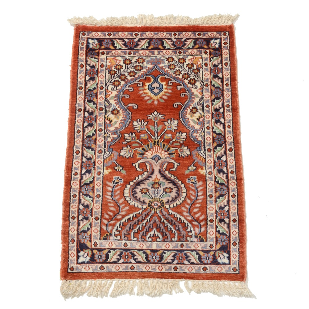 Hand-Knotted Indo-Persian Silk Blend Prayer Rug