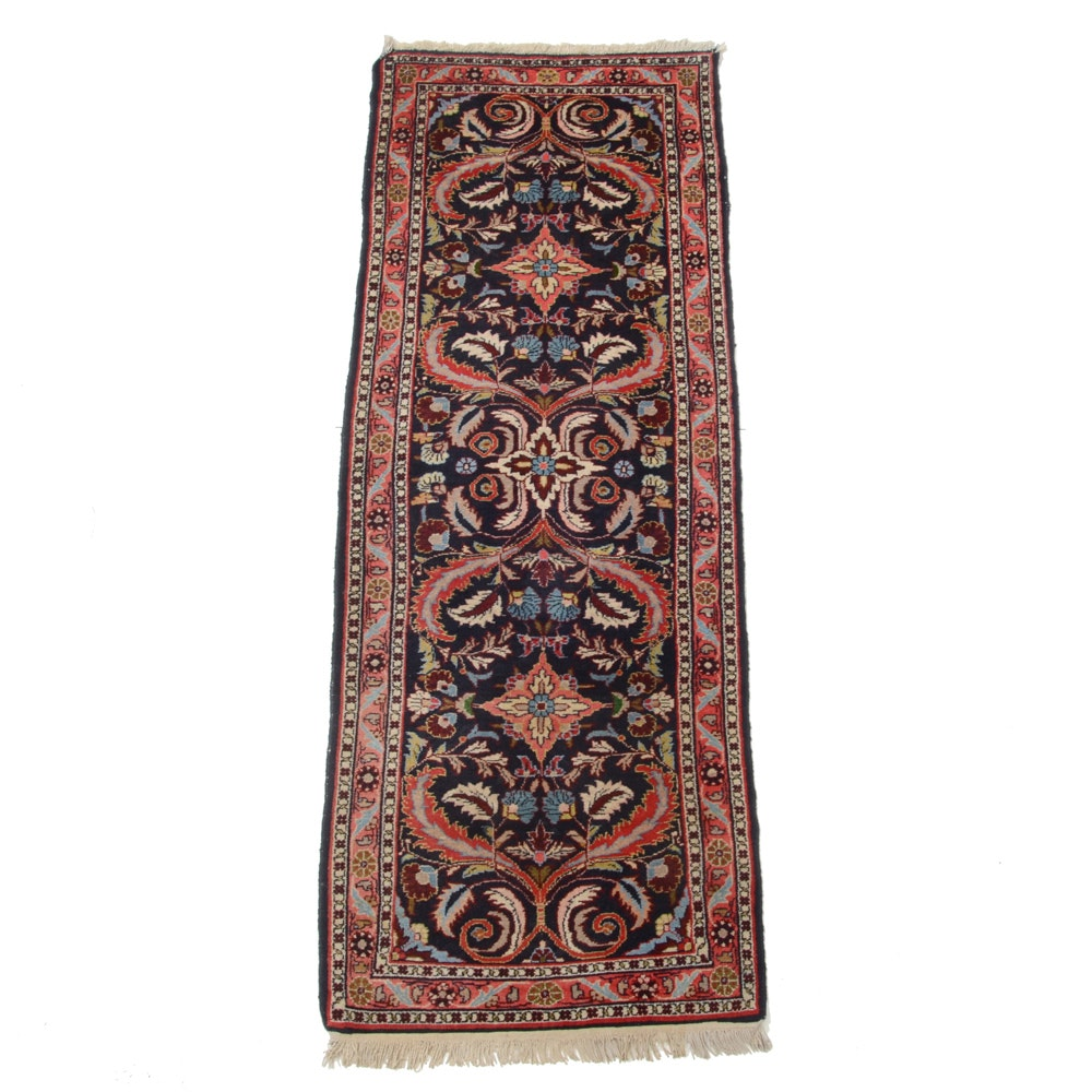 Hand-Knotted Indo-Persian Sarouk Style Wool Runner