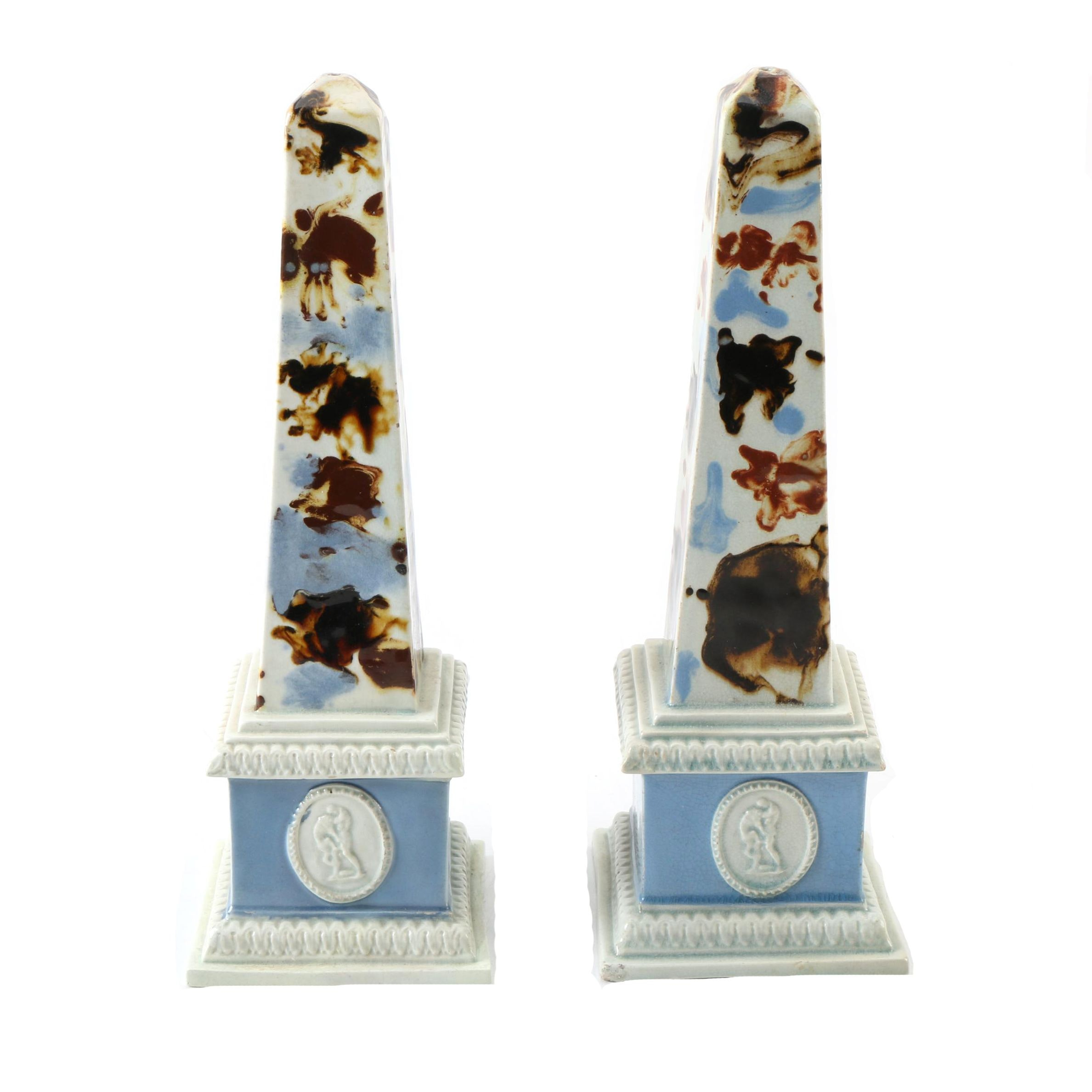 Pair of Antique English Pearlware Obelisks Circa 1785-90