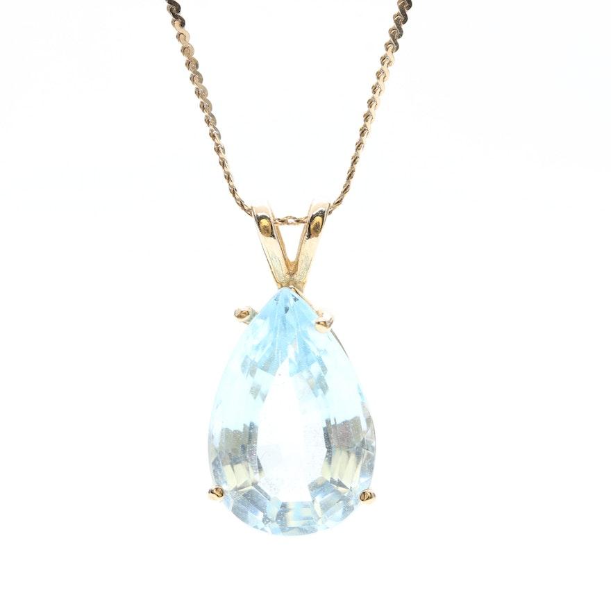 14k yellow gold blue topaz pendant necklace ebth 14k yellow gold blue topaz pendant necklace mozeypictures Images