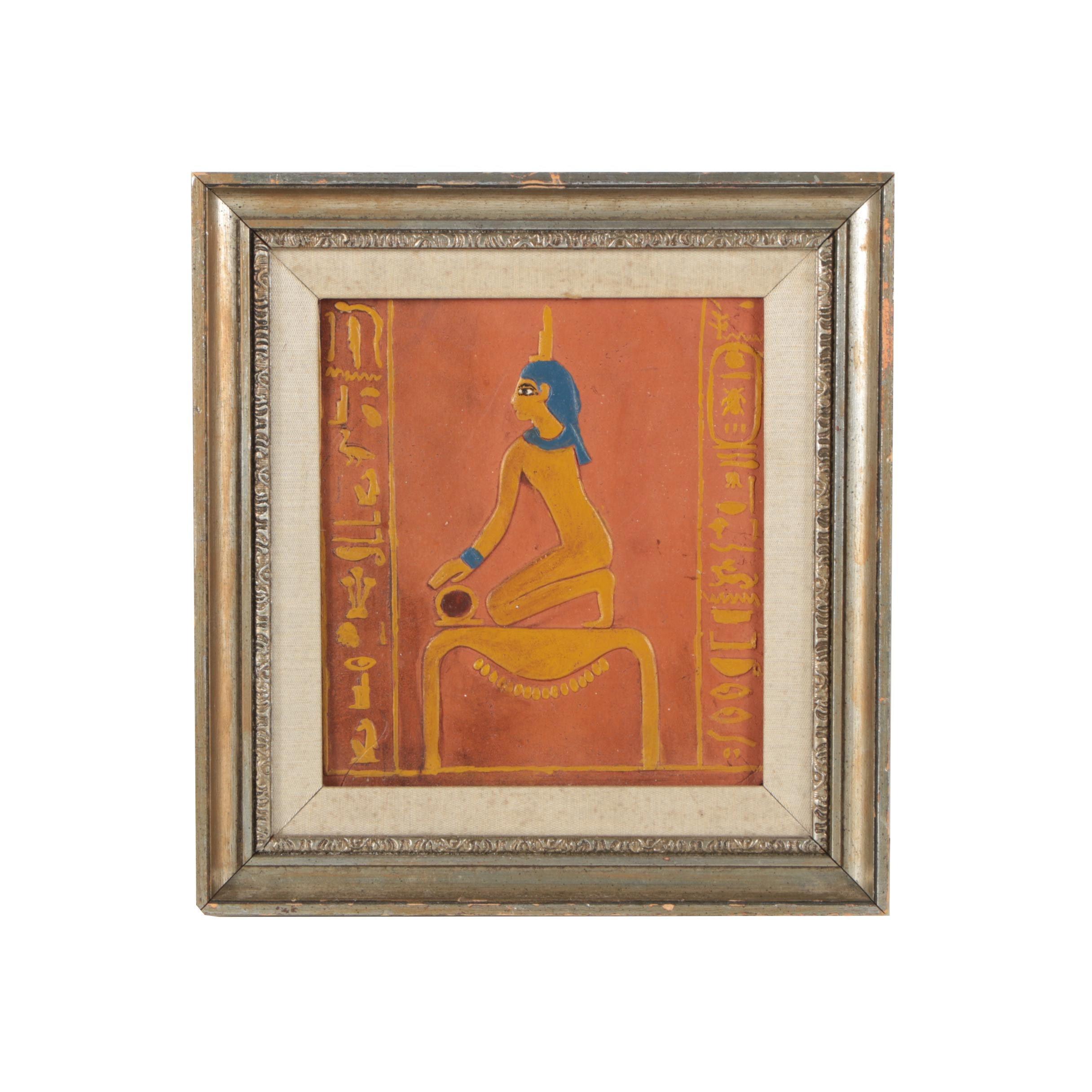 Hand Painted Ceramic Tile of Hieroglyphic Scene