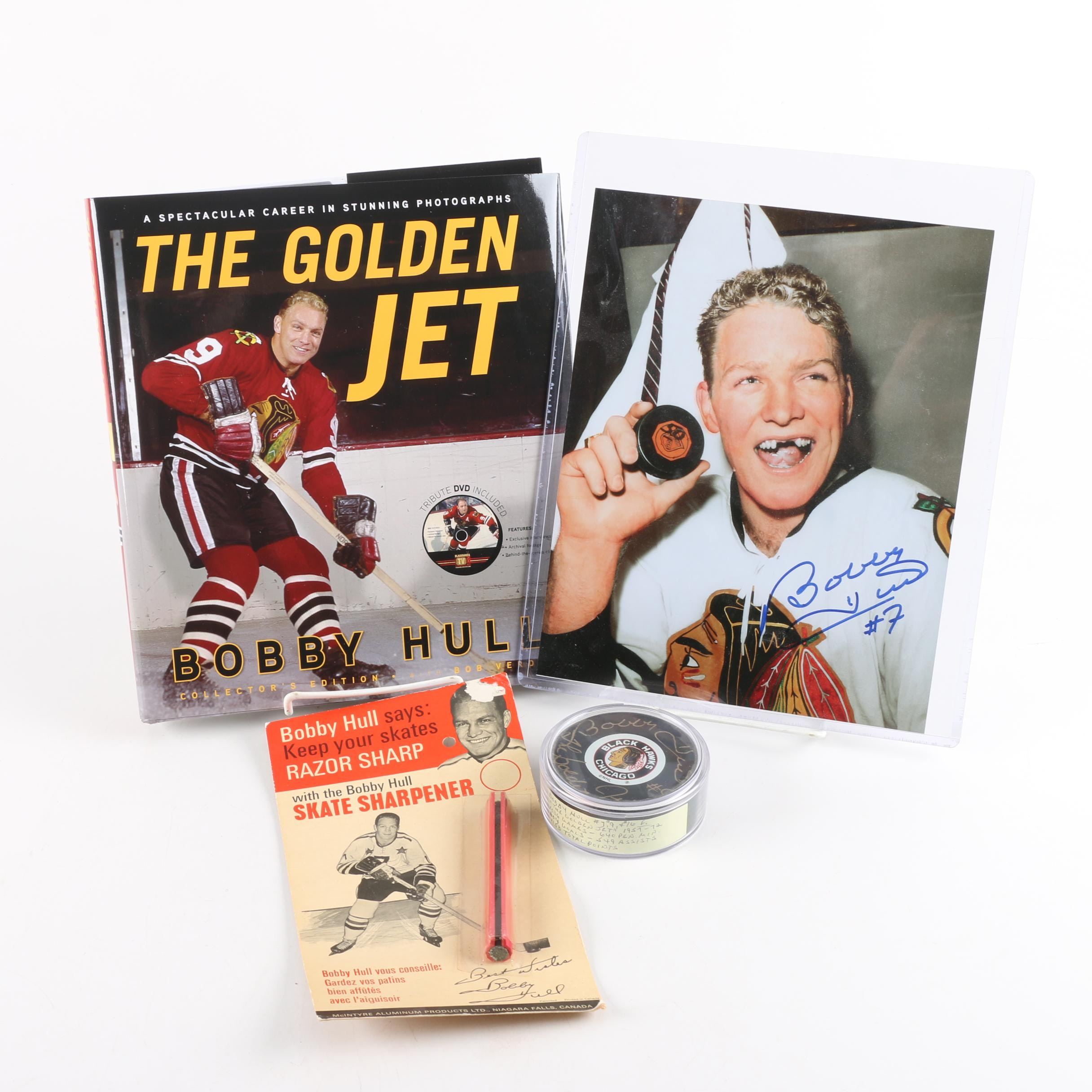 Bobby Hull Autographed Photo and Puck with Book