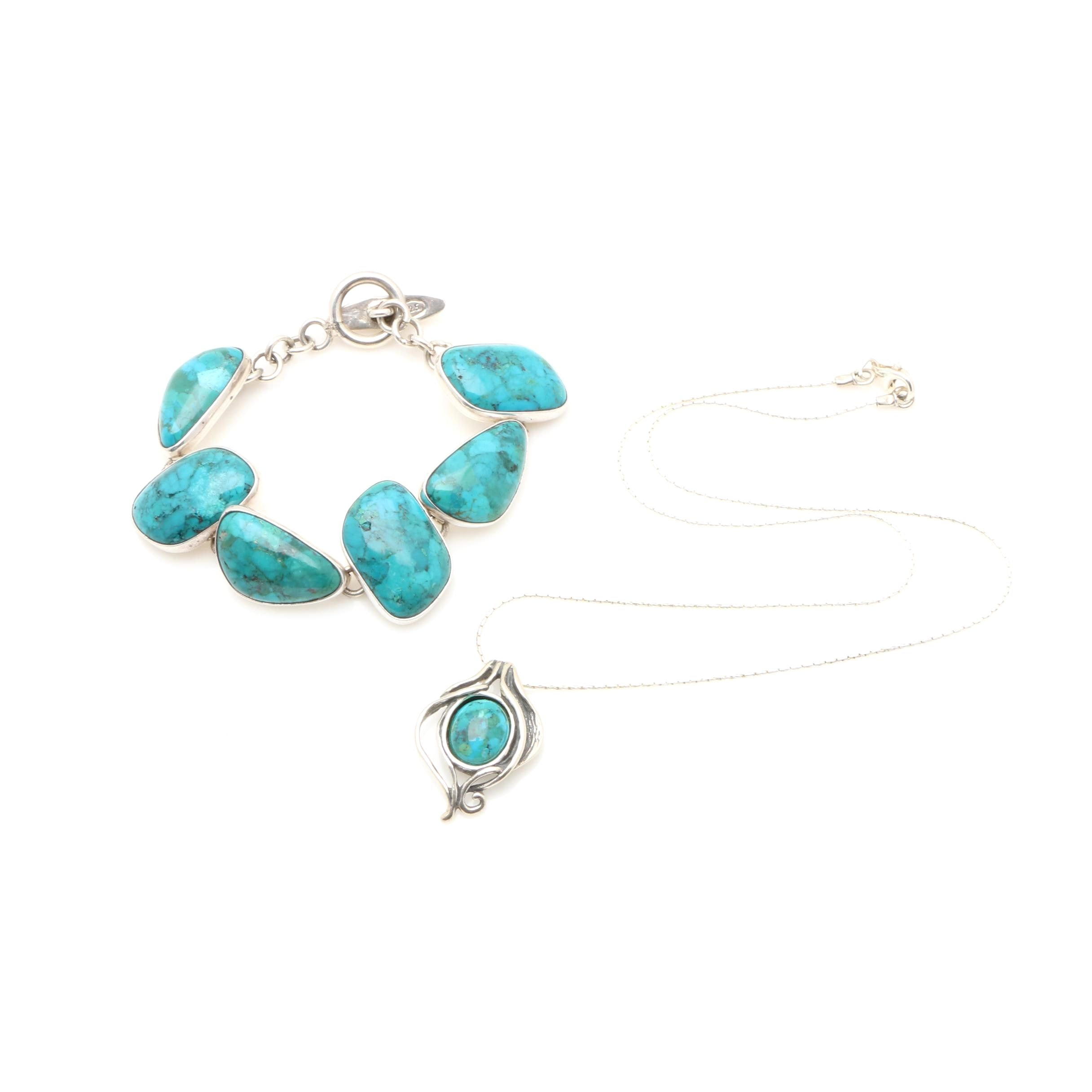 Sterling Silver Reconstructed Turquoise Bracelet and Didae Necklace