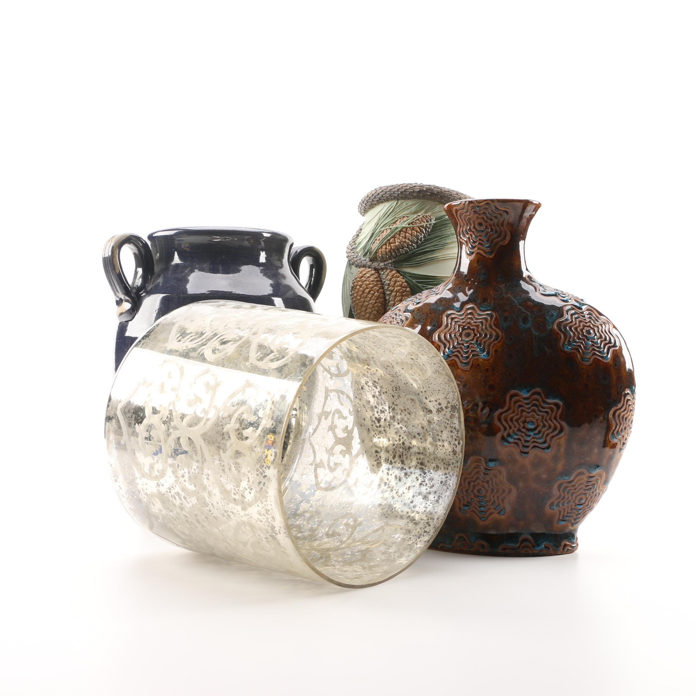 Glass and Ceramic Vases including Rowe Pottery Stoneware