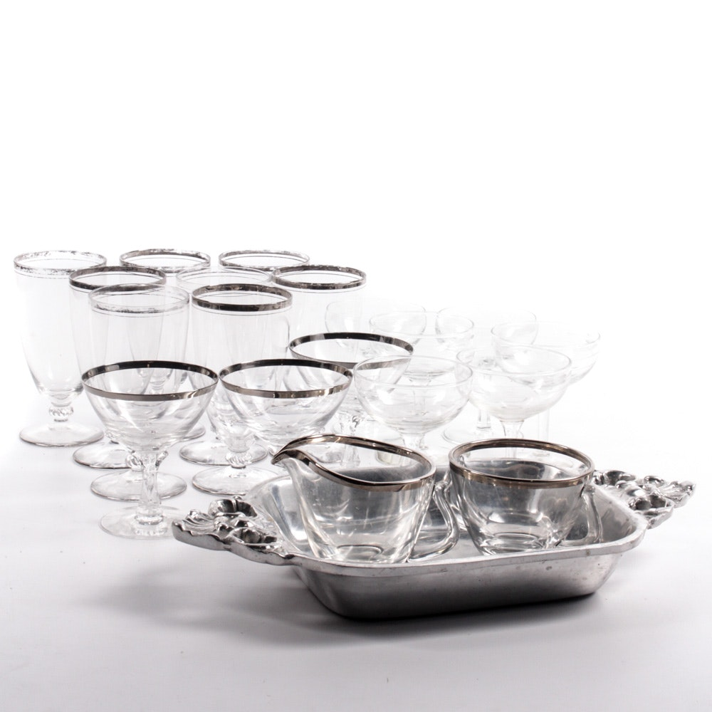 Vintage Silver-Edged Glass Drinkware and More