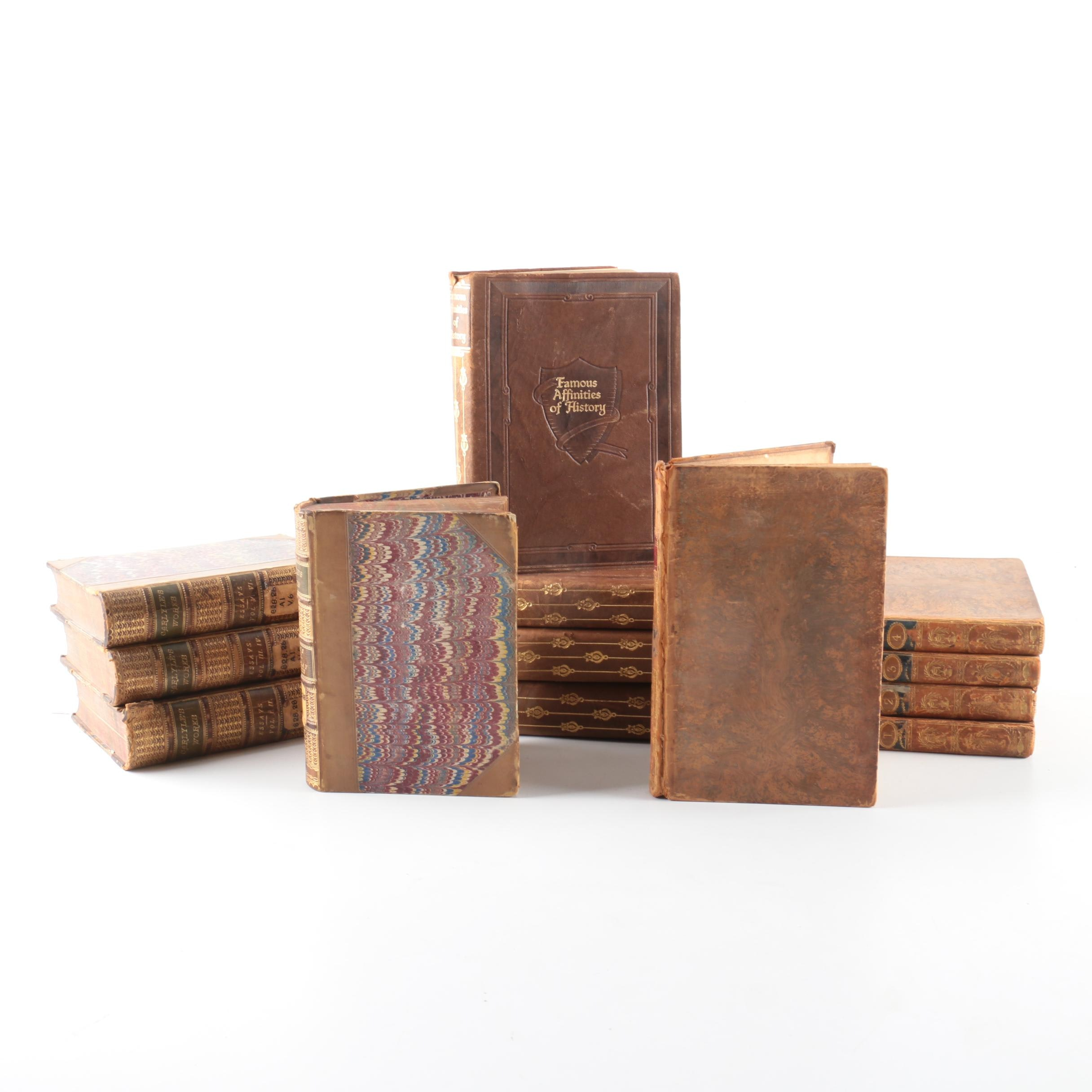 Thomas Carlyle and Other Leather Bound Antiquarian Fiction, Poetry, and Essays