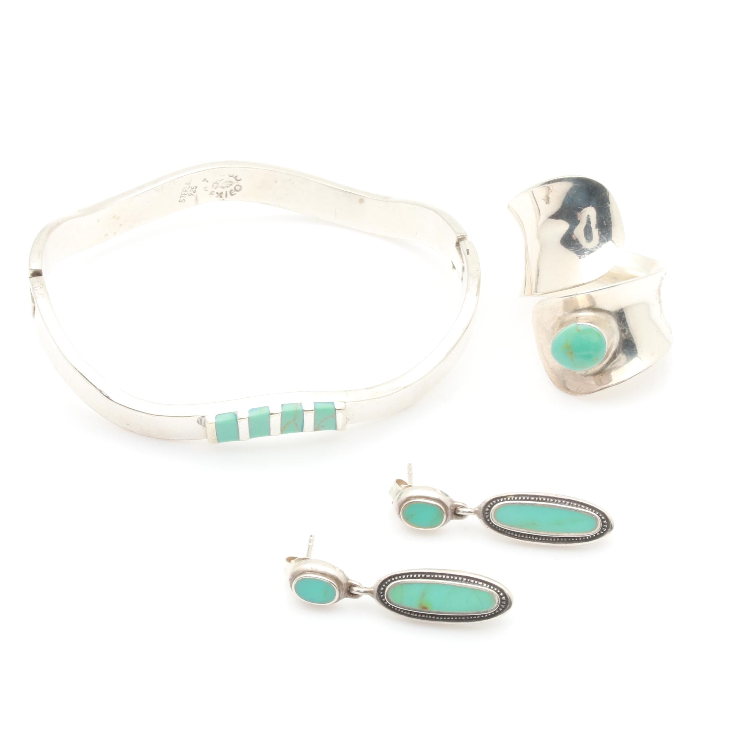 Sterling Silver Imitation Turquoise Bracelet, Ring, and Earring Selection