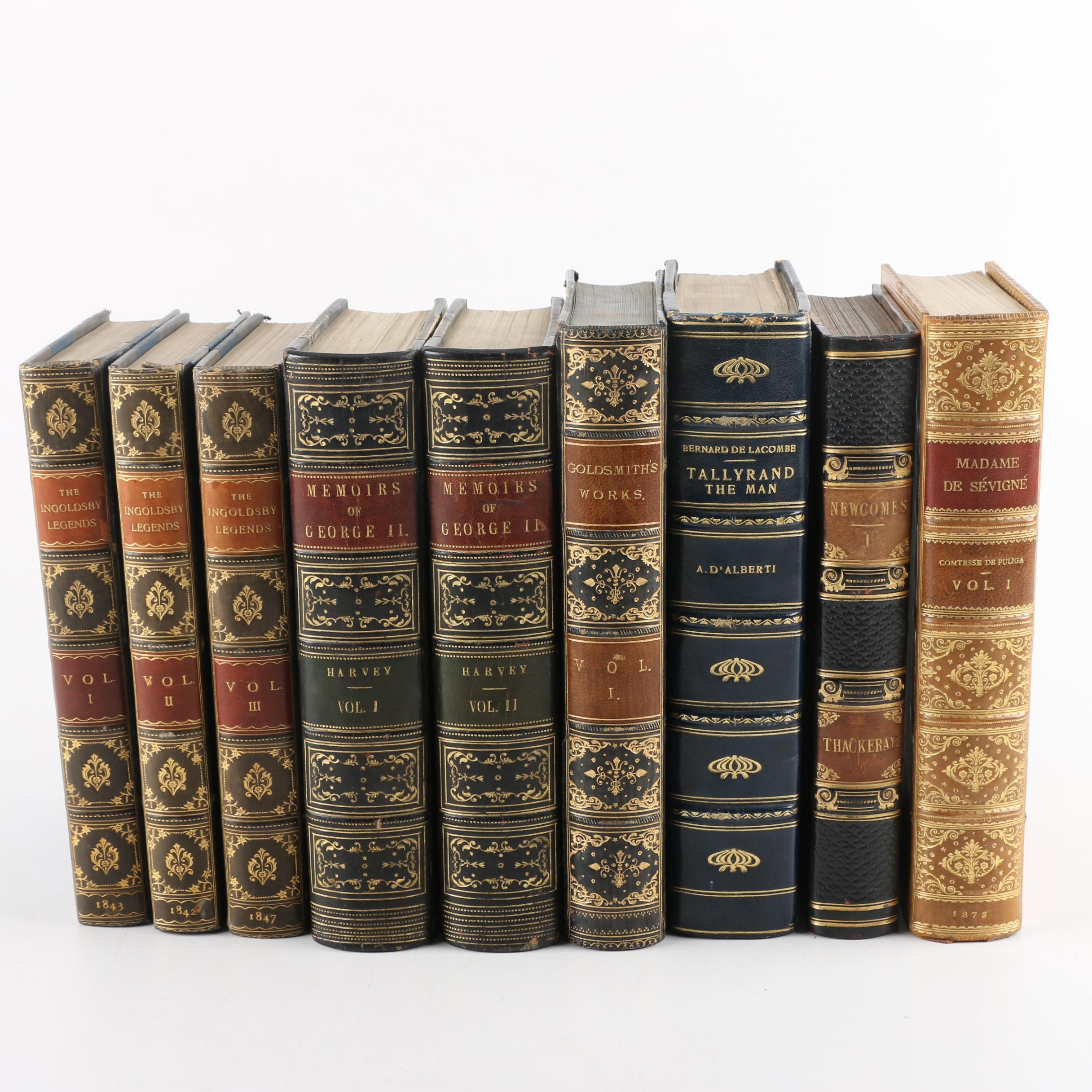 """Antique Leather Bound Books, Including 1843 Three Volume """"Ingoldsby Legends"""""""