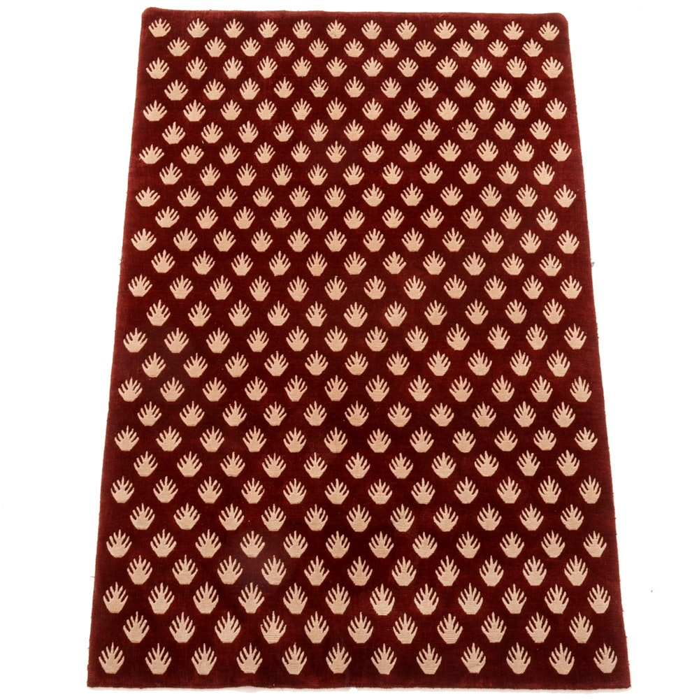 Modern Hand-Knotted Carved Wool Area Rug