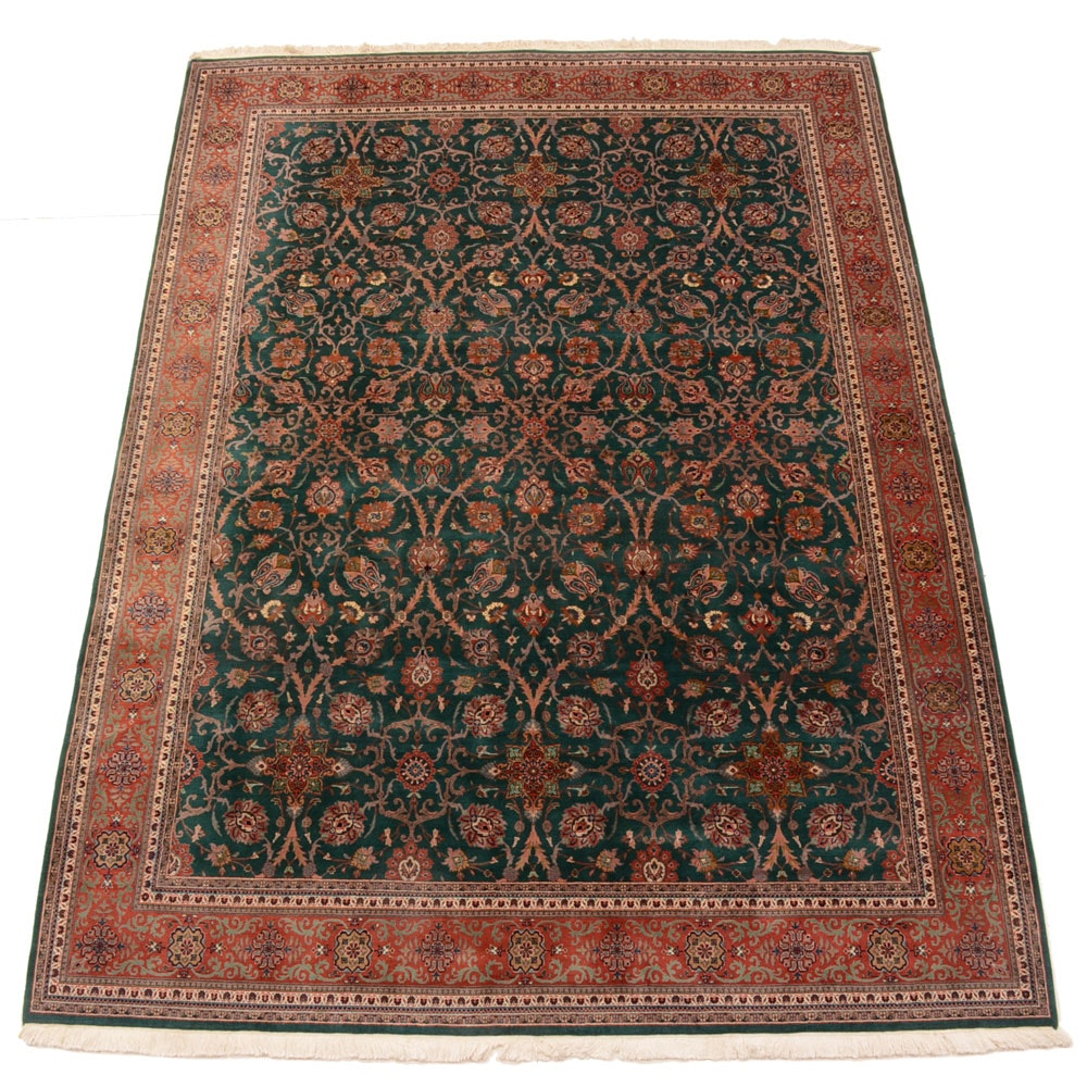 Hand-Knotted Indo-Persian Semnan Style Area Rug