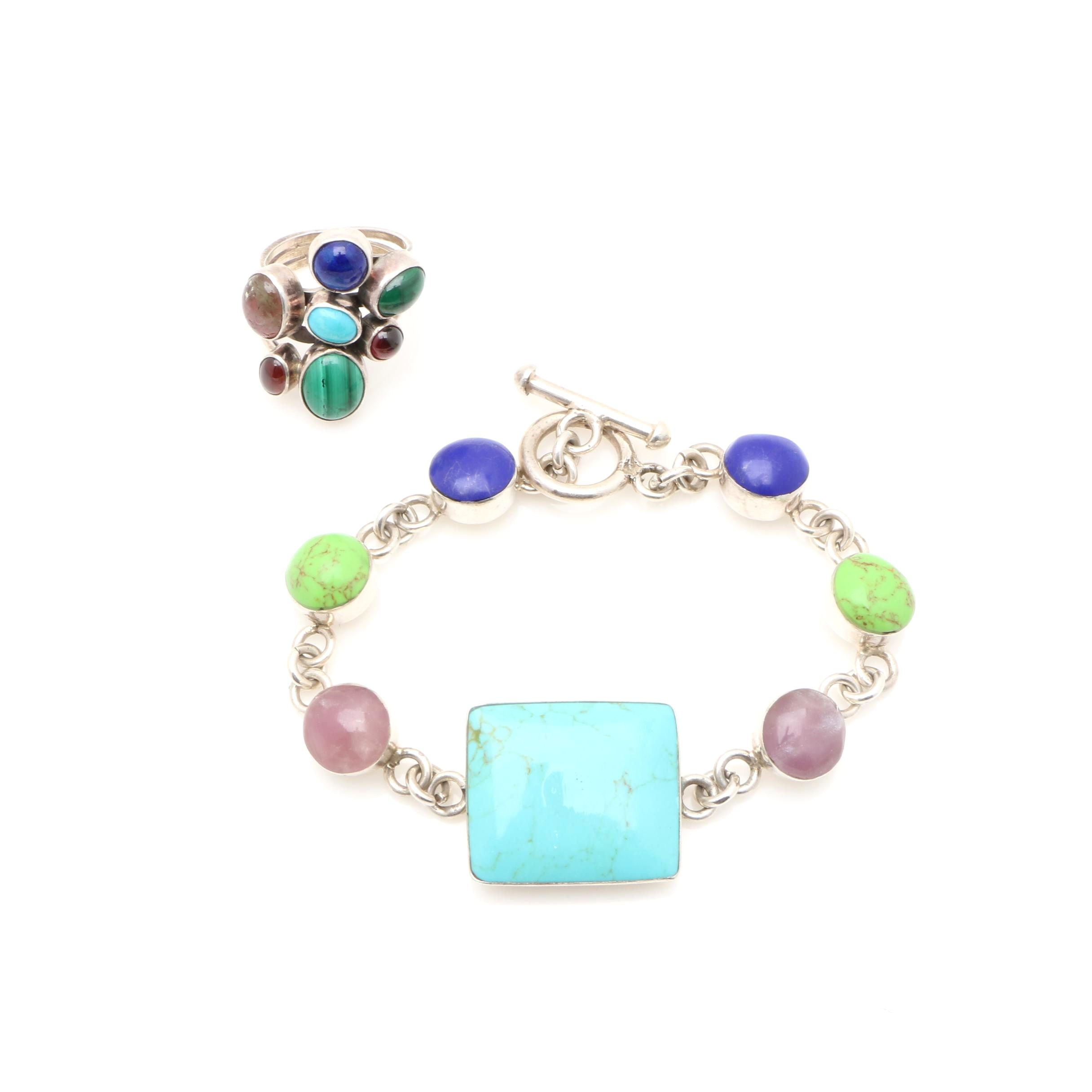 Sterling Silver Gemstone Ring and Bracelet Including Turquoise