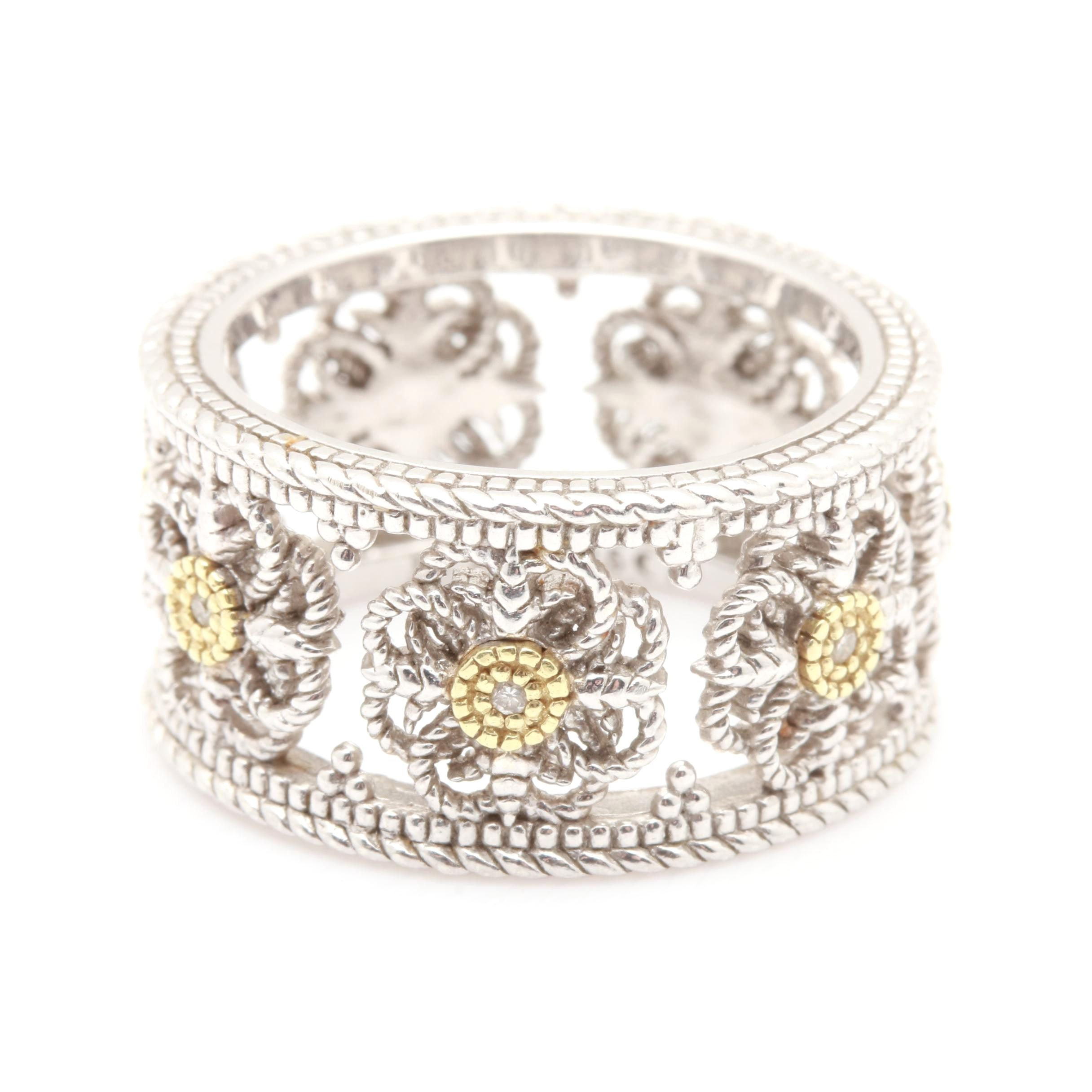 Judith Ripka Sterling Silver and 18K Yellow Gold Diamond Ring