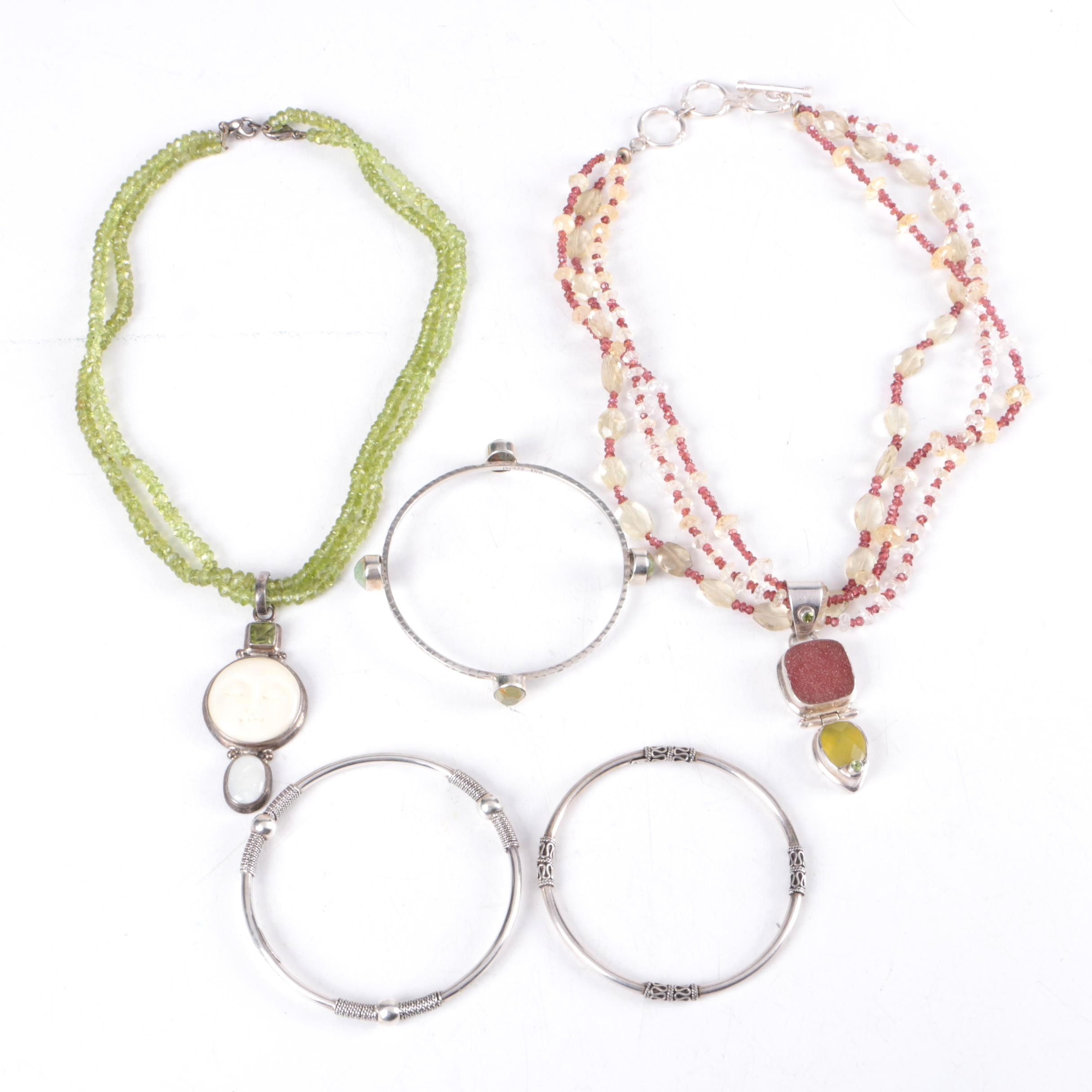 Sterling Silver Necklace and Bracelet Selection Including Peridot and Citrine