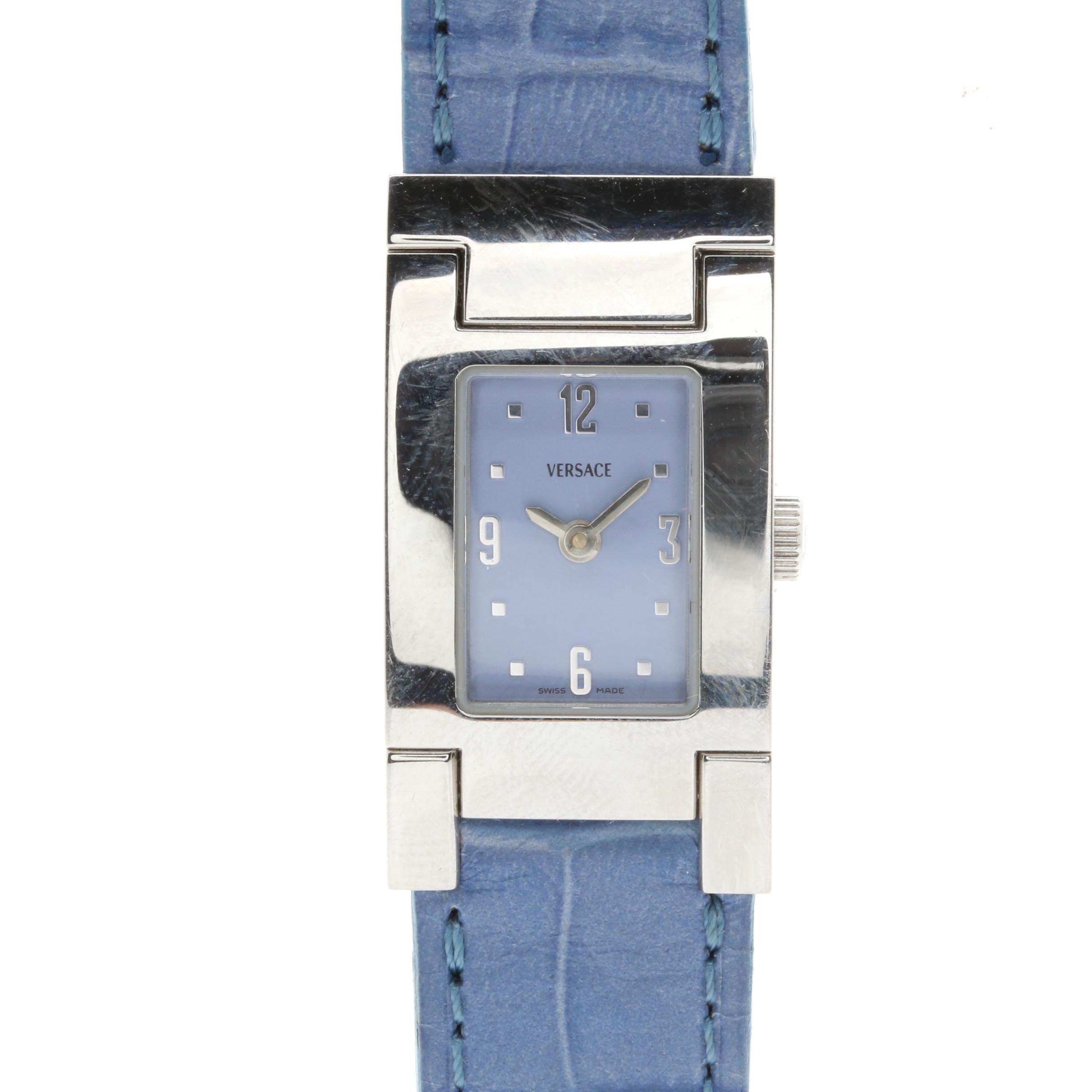 Versace Designer Silver Tone and Lavender Wristwatch