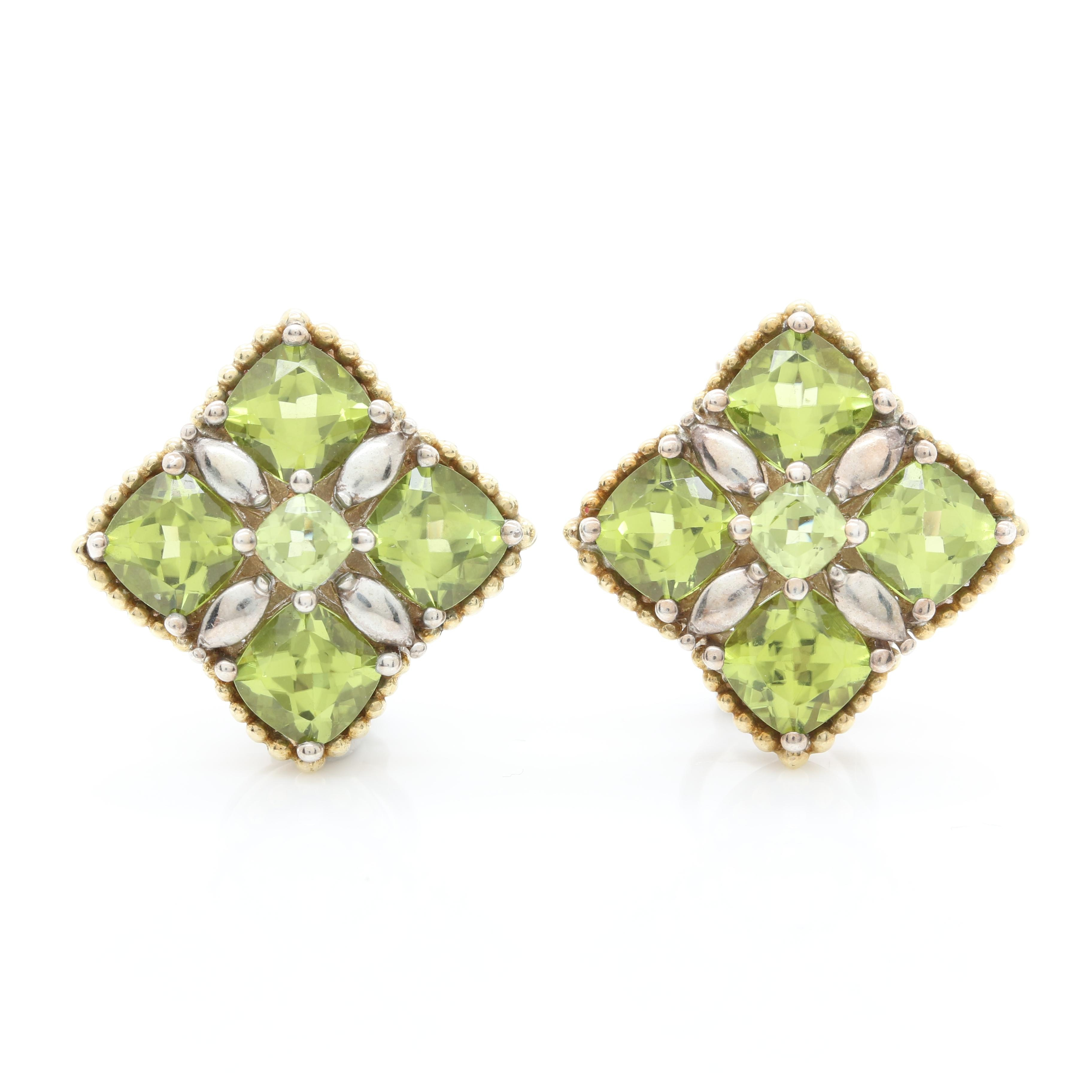 Lagos Caviar Sterling Silver and 18K Yellow Gold Peridot Earrings